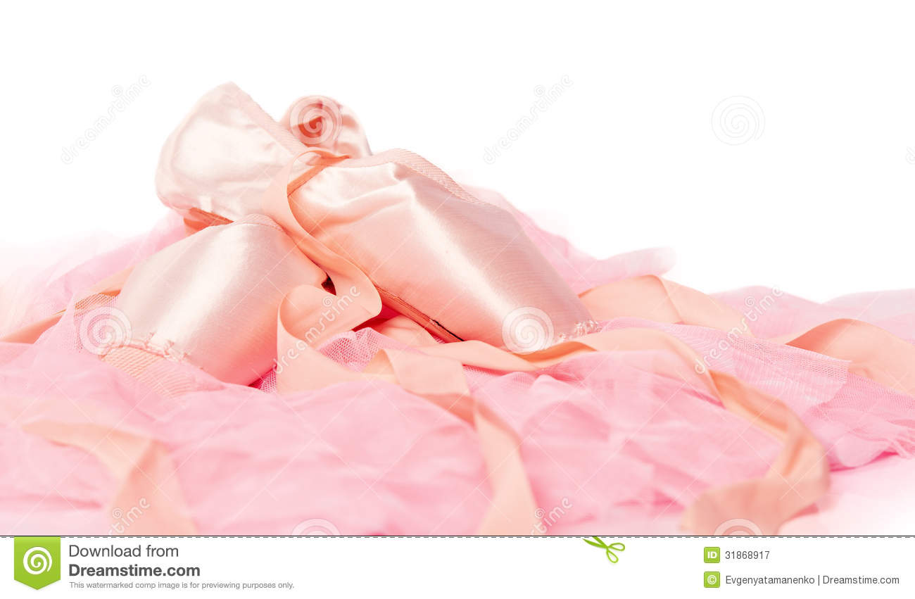 Ballet Shoes On A Pink Cloth Isolated Royalty Free Stock