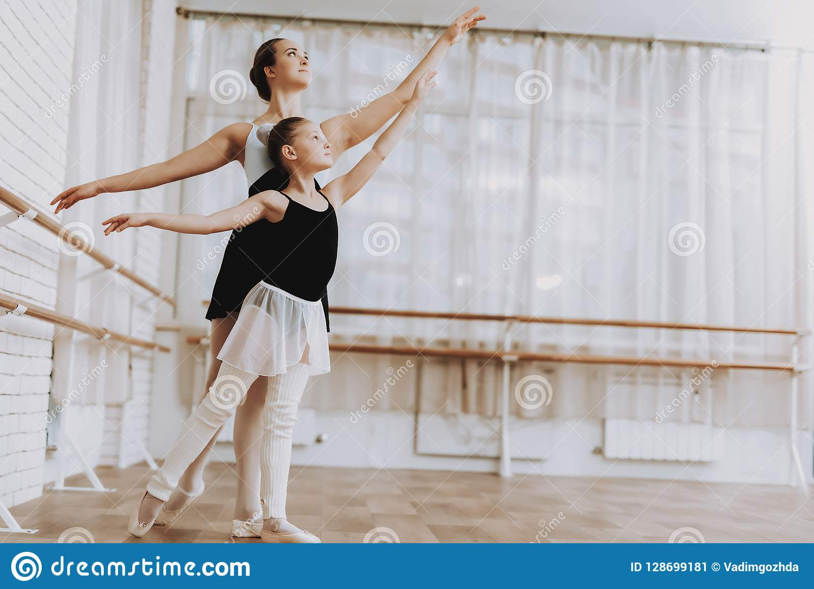 0a75a68448ed Ballet Training Of Little Girl With Teacher Indoor Stock Image ...