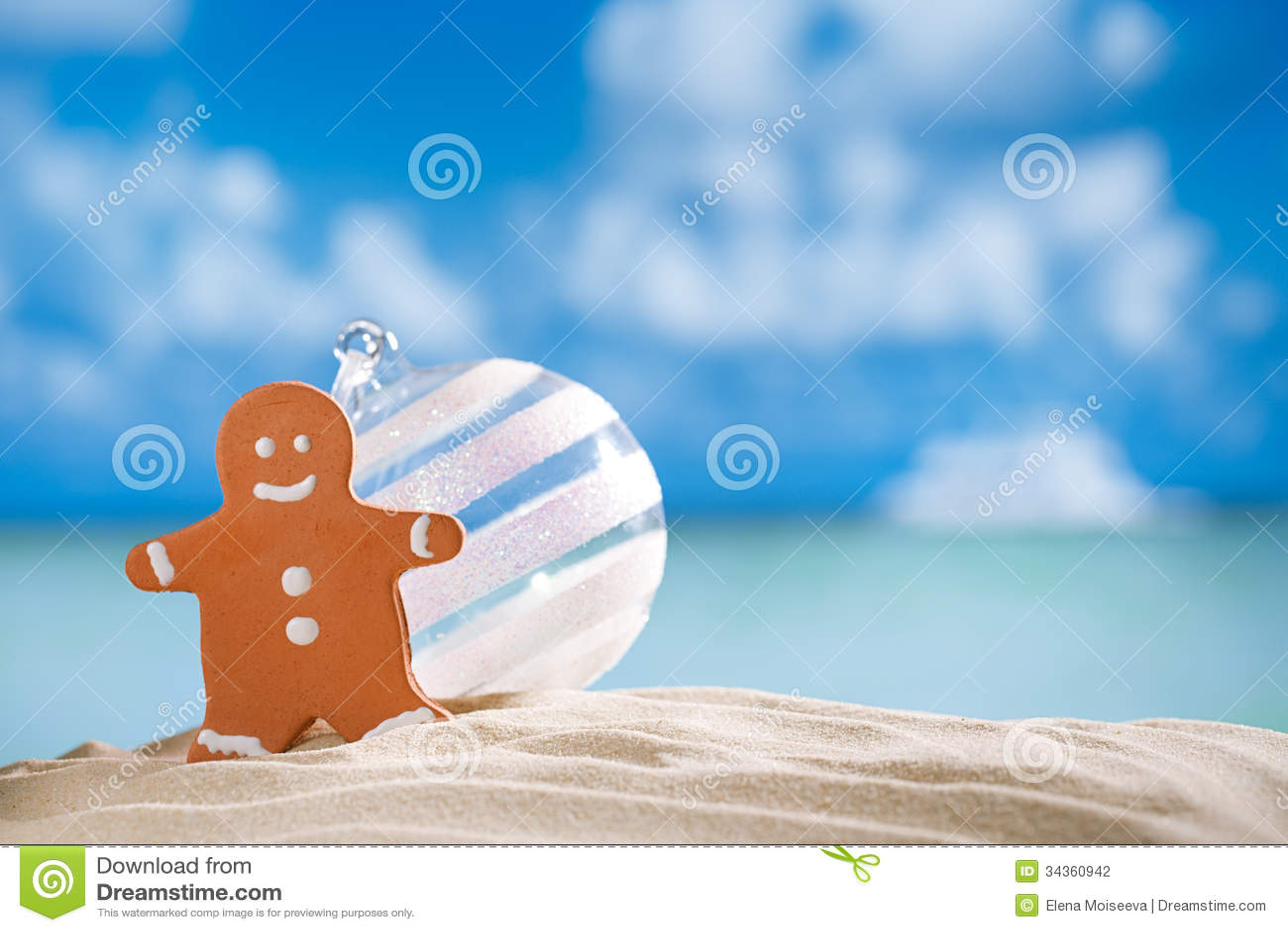 Balll dell uomo e di vetro di pan di zenzero sulla spiaggia con il backgroun di vista sul mare