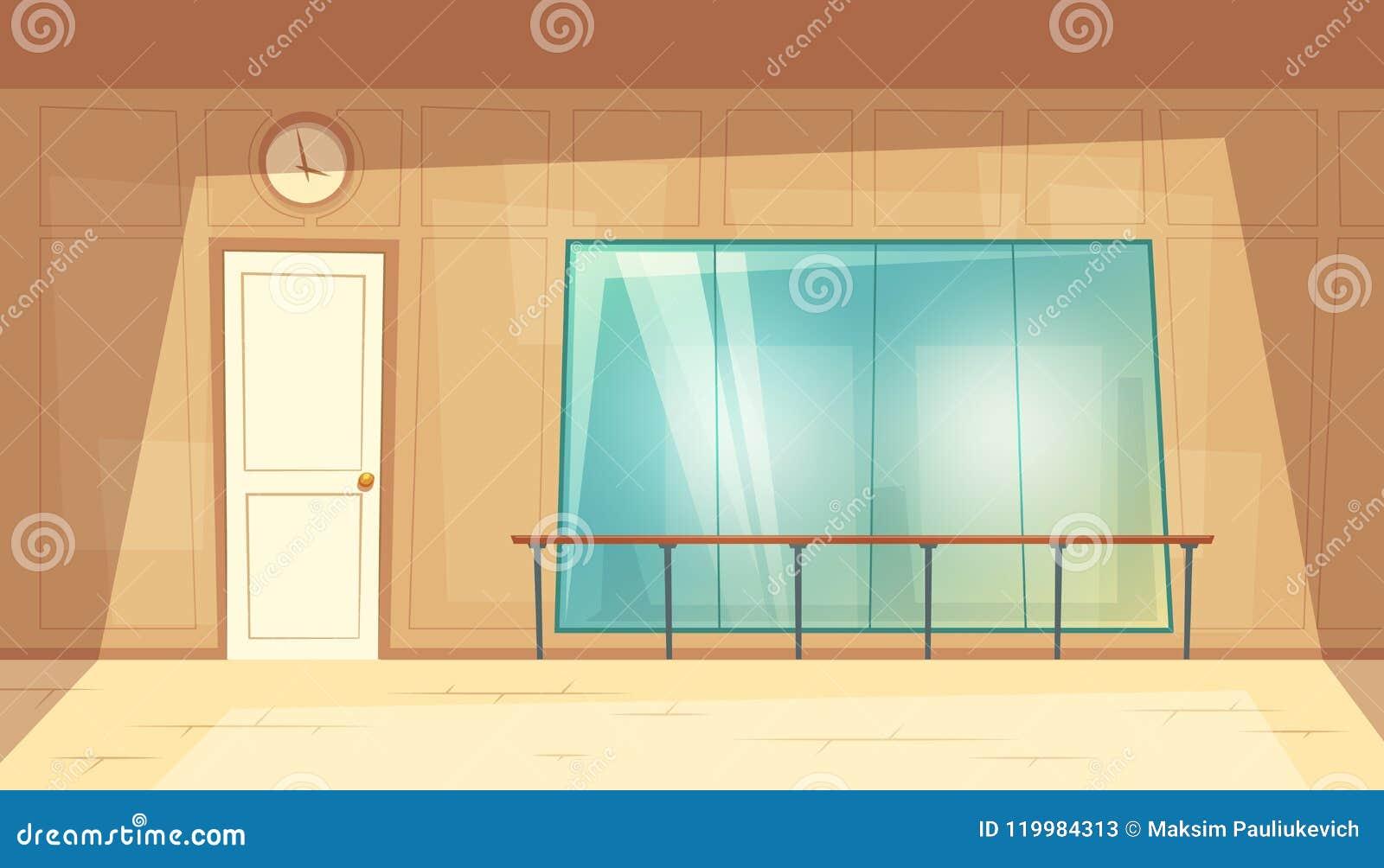 Specchi Per Palestra On Line ballo-corridoio vuoto del fumetto di vettore con gli specchi