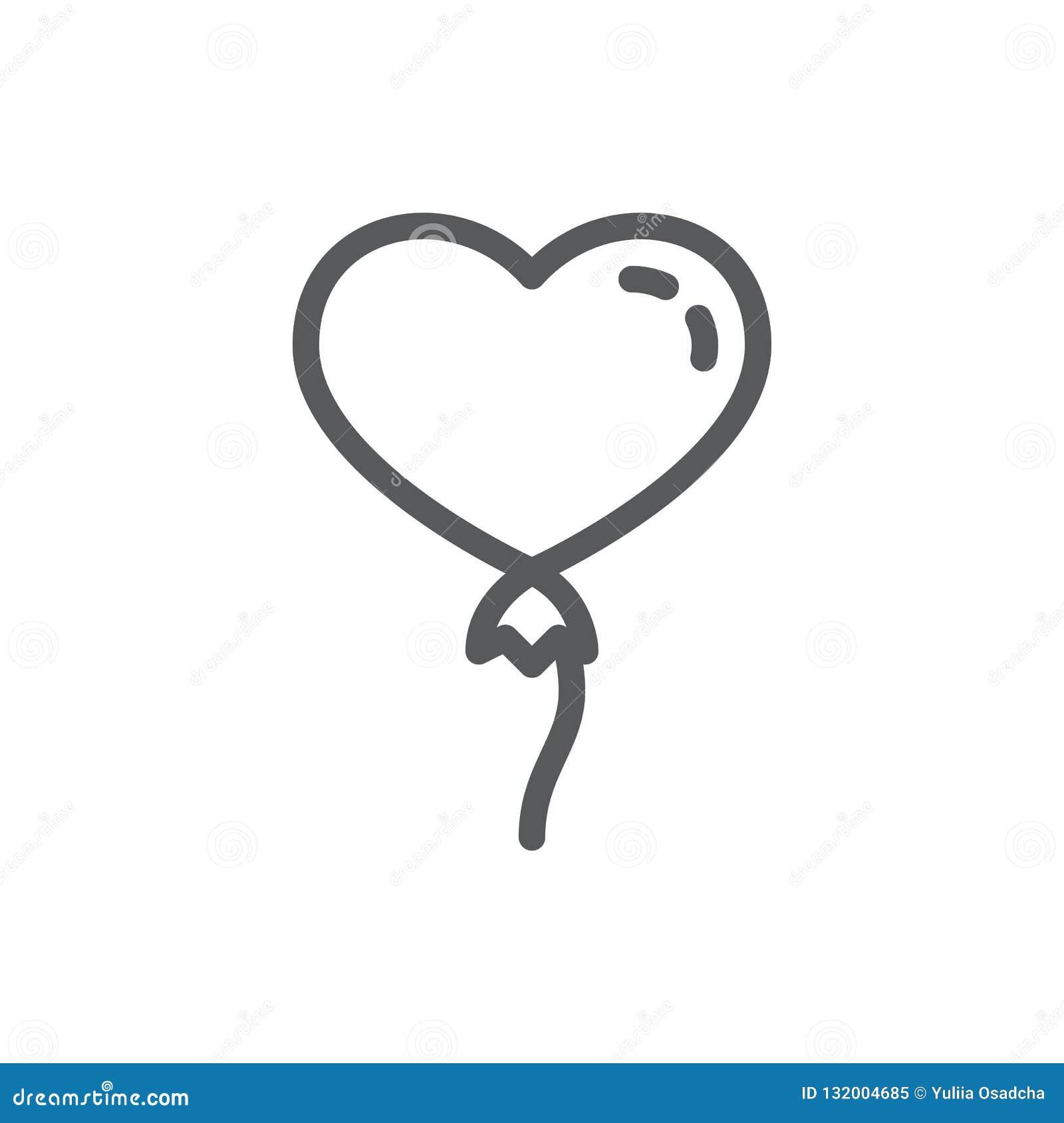 Ballon à air chaud sous la forme de ligne de coeur icône avec la course editable