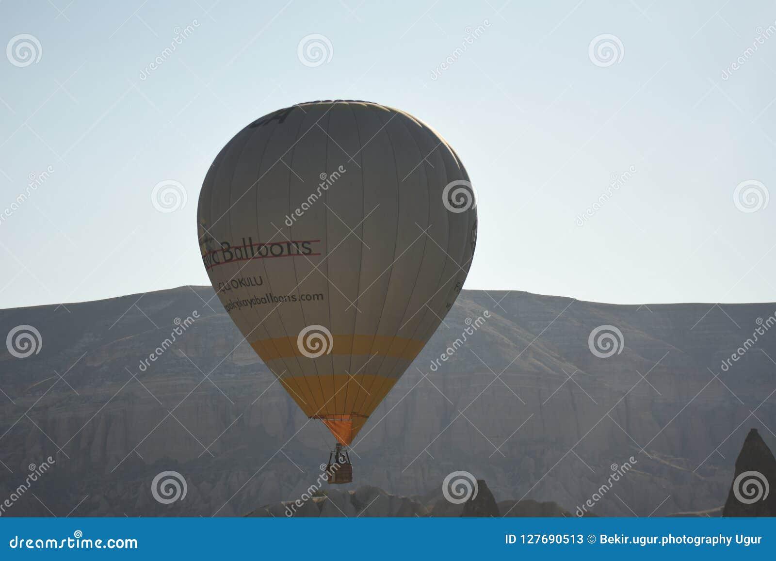Ballon à air chaud volant au-dessus des vallées dans Cappadocia Turquie