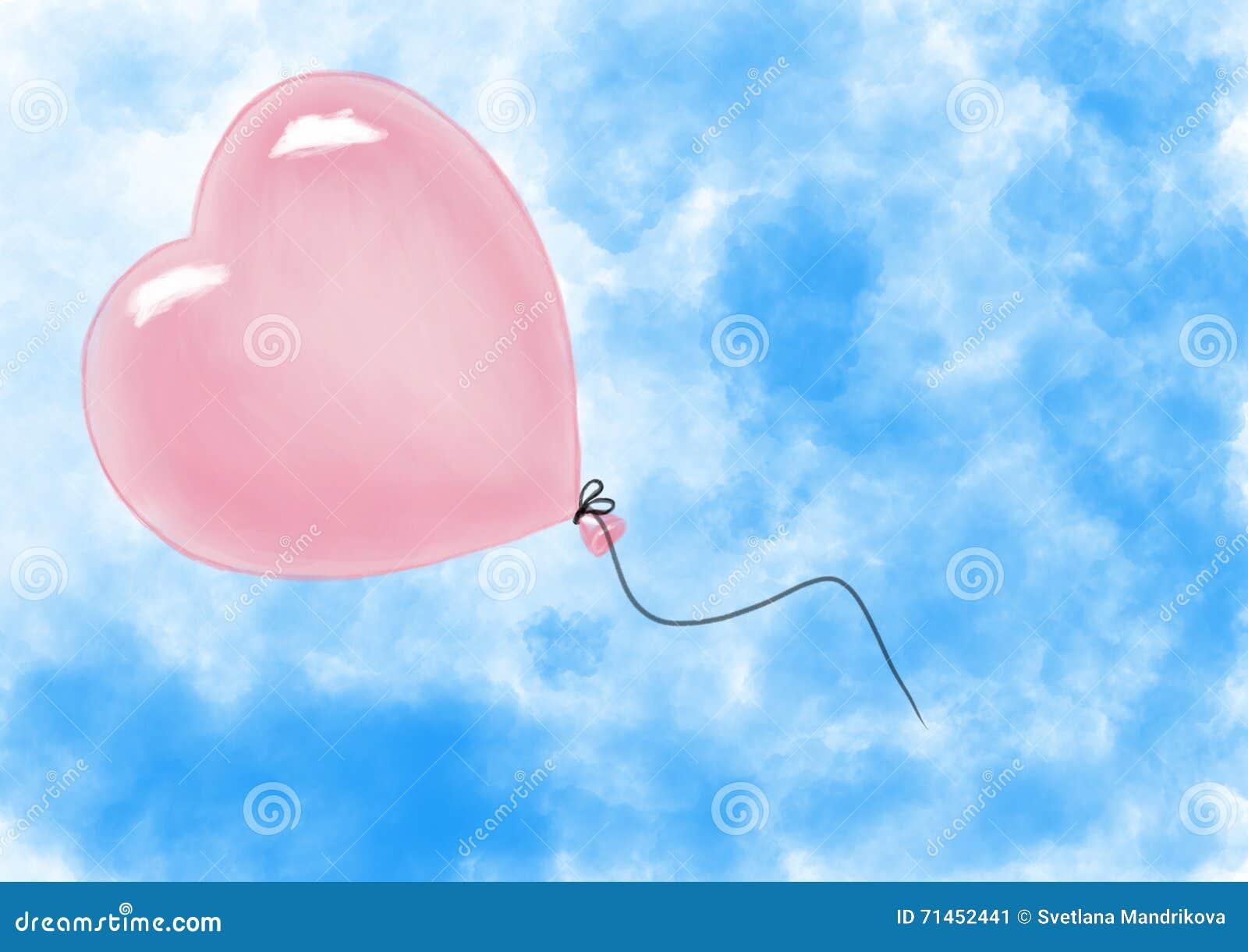 Ballon αέρα μορφής καρδιών που πετά στον ουρανό