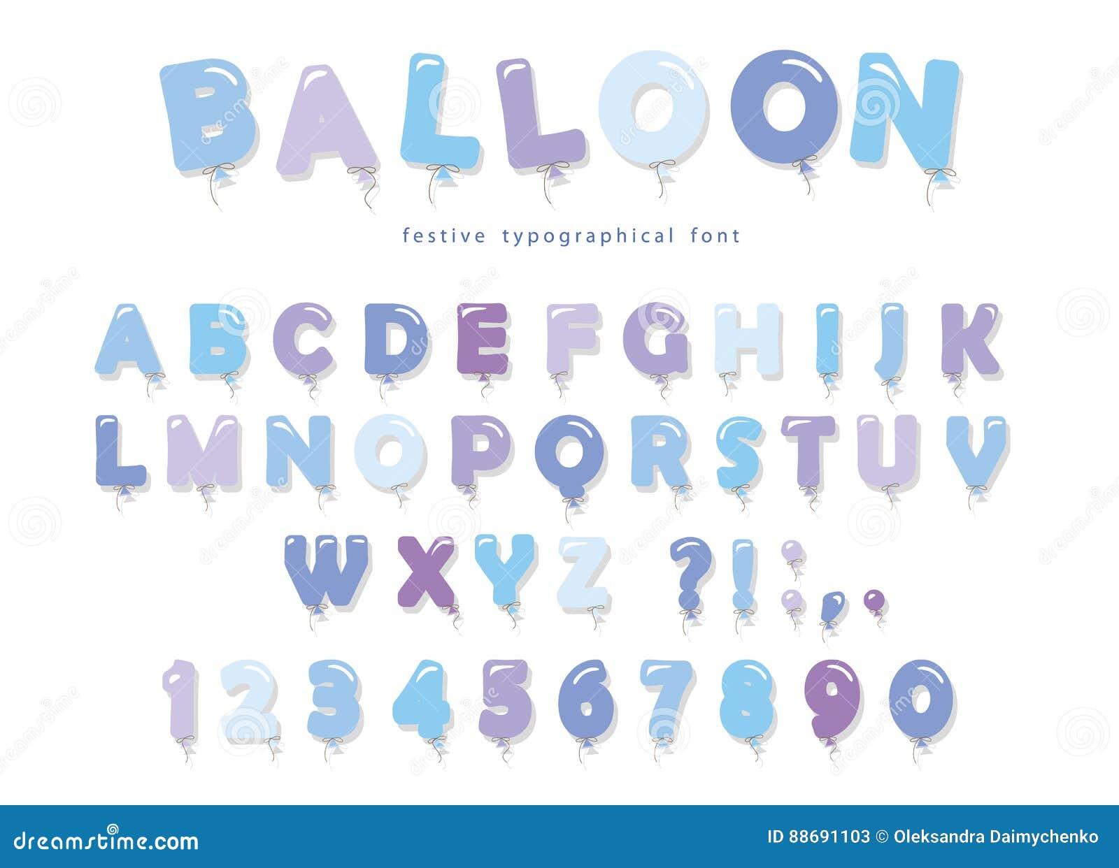 Abc Verjaardag.Ballon Blauwe Doopvont De De Leuke Letters En Getallen Van