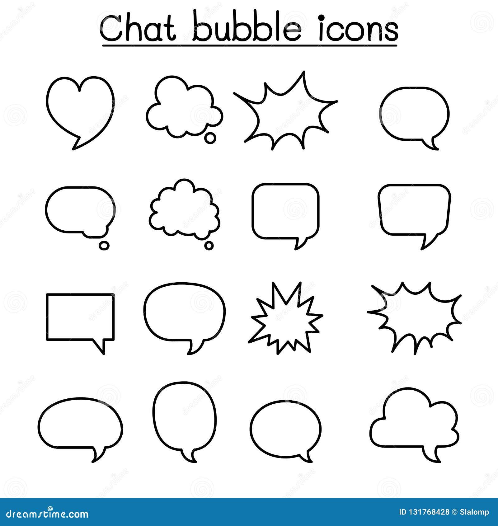 Ballon de causerie, bulle de la parole, parlant, ensemble parlant d icône dans la ligne style mince