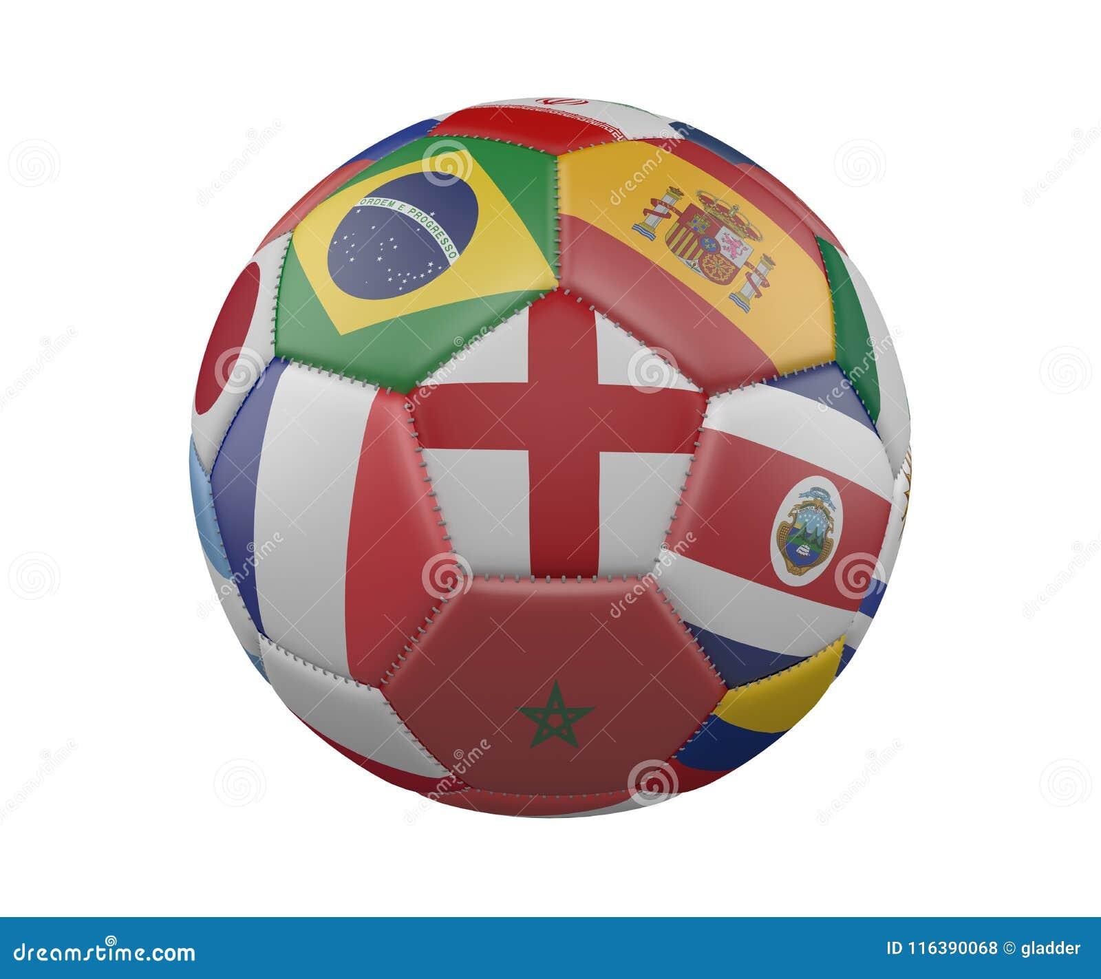 Ballon de football avec des drapeaux d isolement sur le fond blanc, Angleterre au centre, rendu 3d