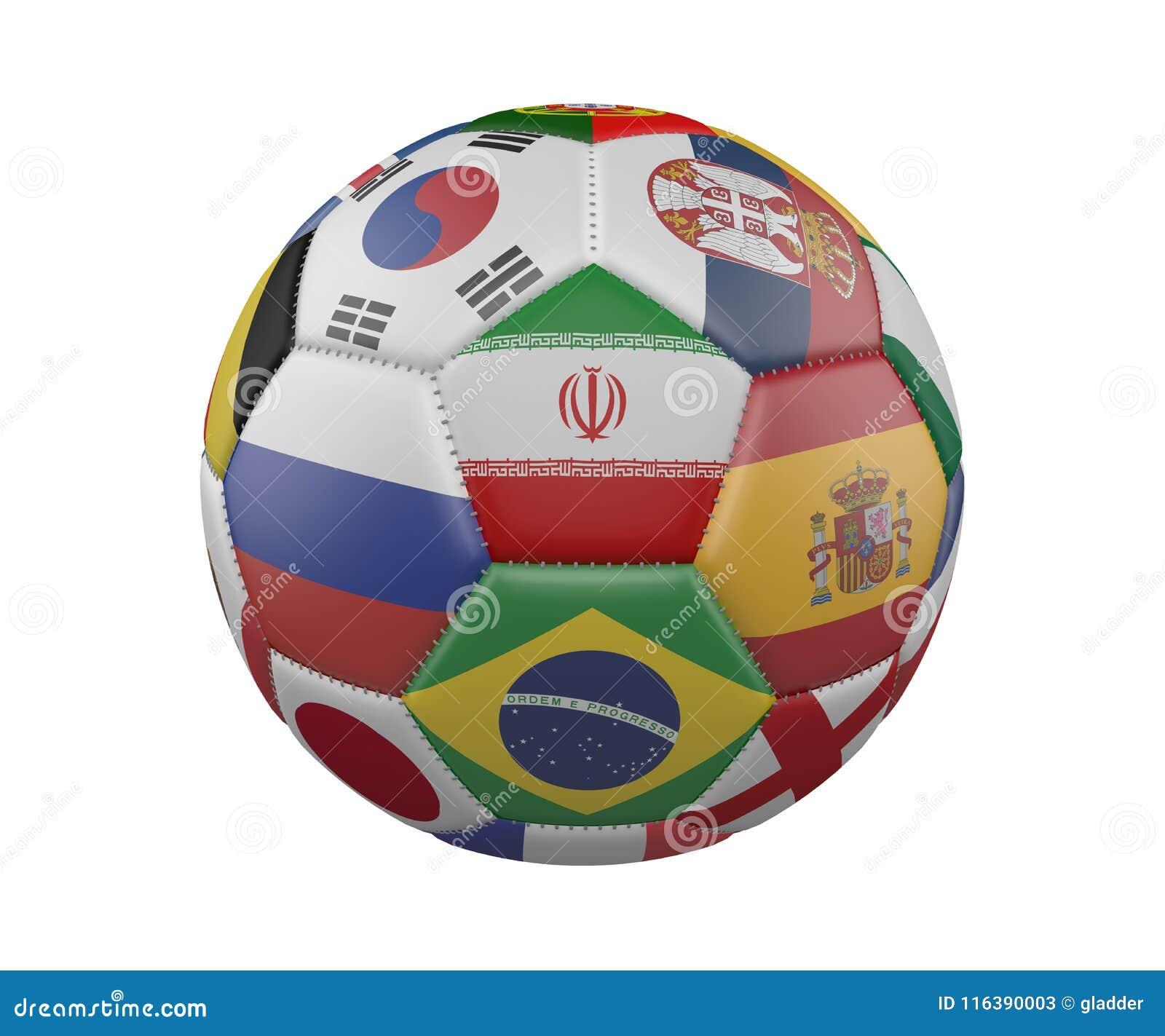 Ballon de football avec des drapeaux d isolement sur le fond blanc, Iran au centre, rendu 3d