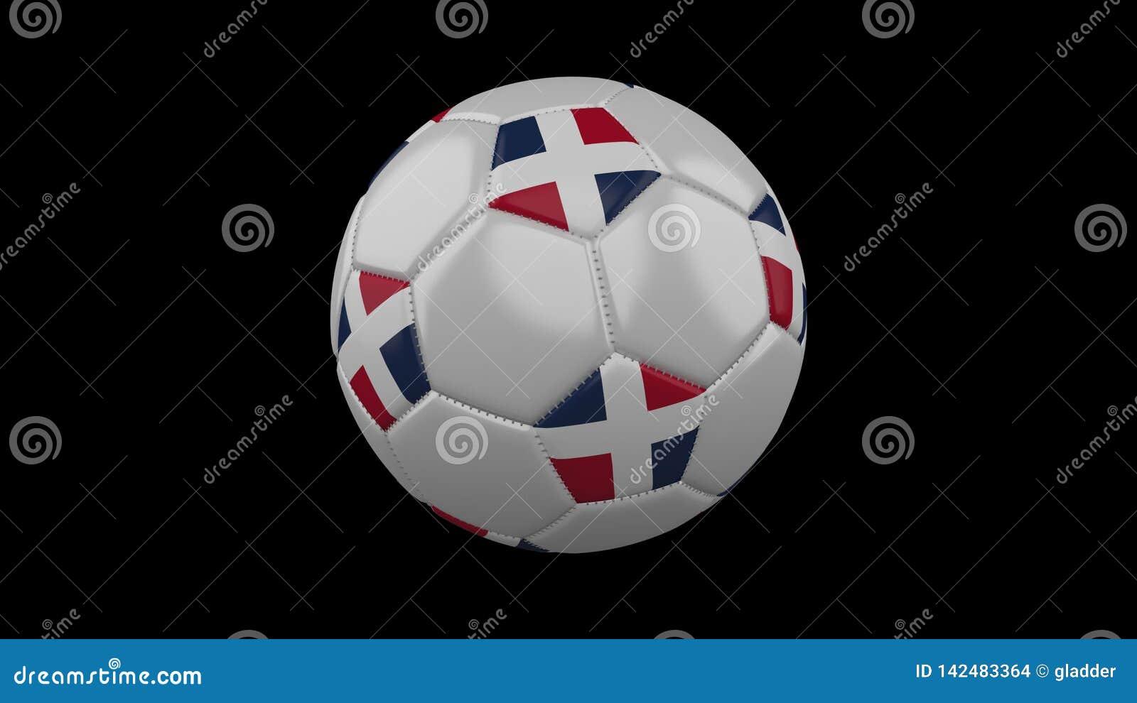 Ballon de football avec le drapeau dominicain, rendu 3d