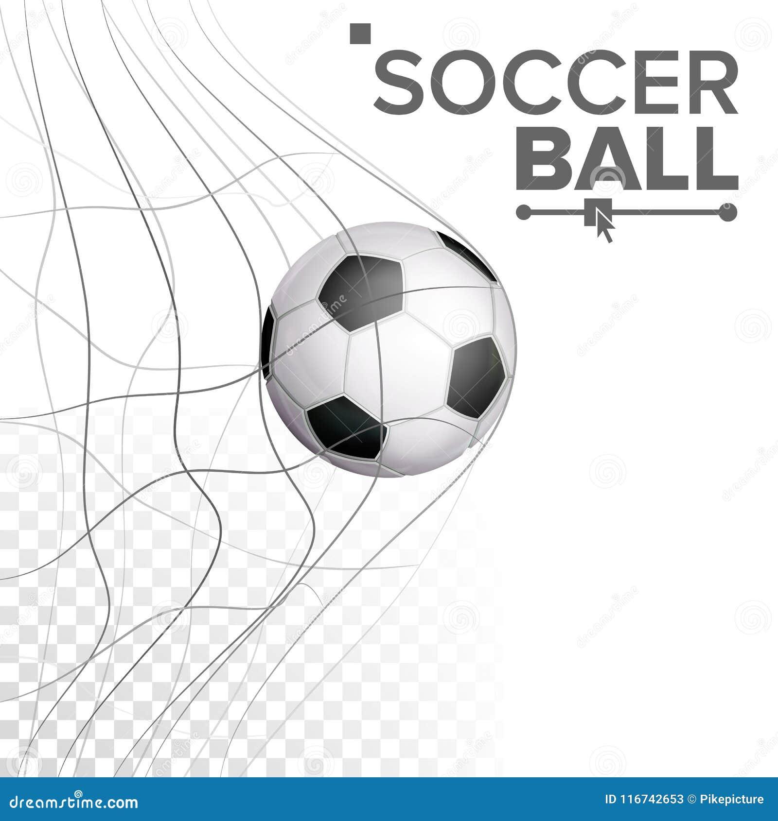 Ballon de football dans le vecteur net Frapper le but Affiche de sport, bannière, élément de conception de brochure D isolement s