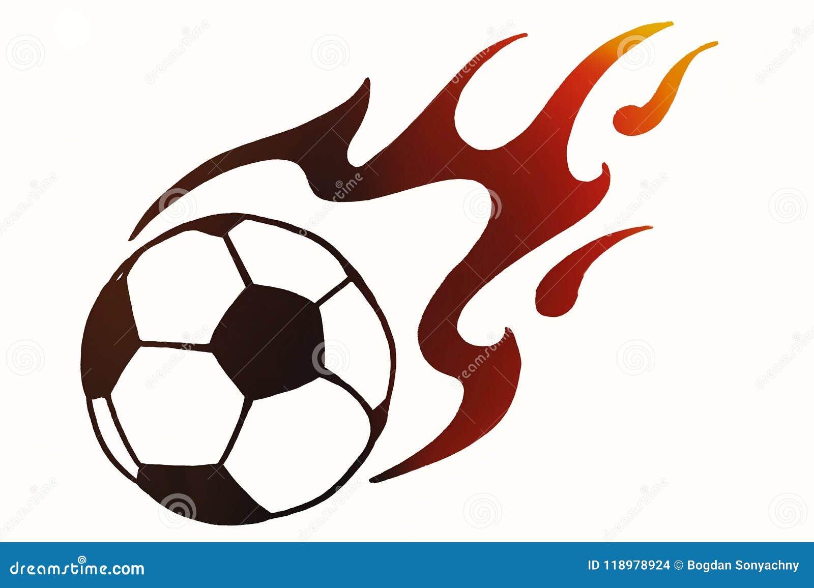 Ballon De Football En Feu Illustration Simple Tirée Par La Main