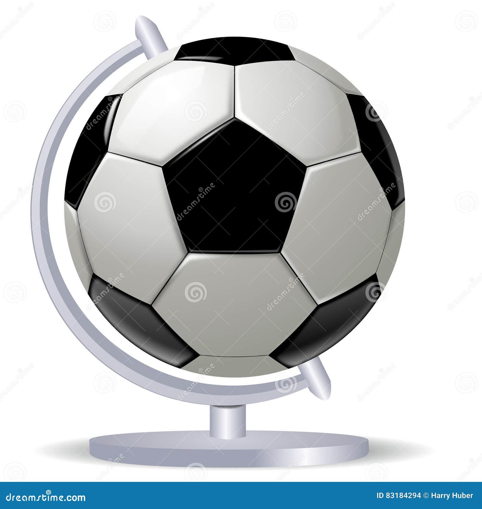 Ballon De Football Noir Et Blanc Ou Football Et Globus Illustration