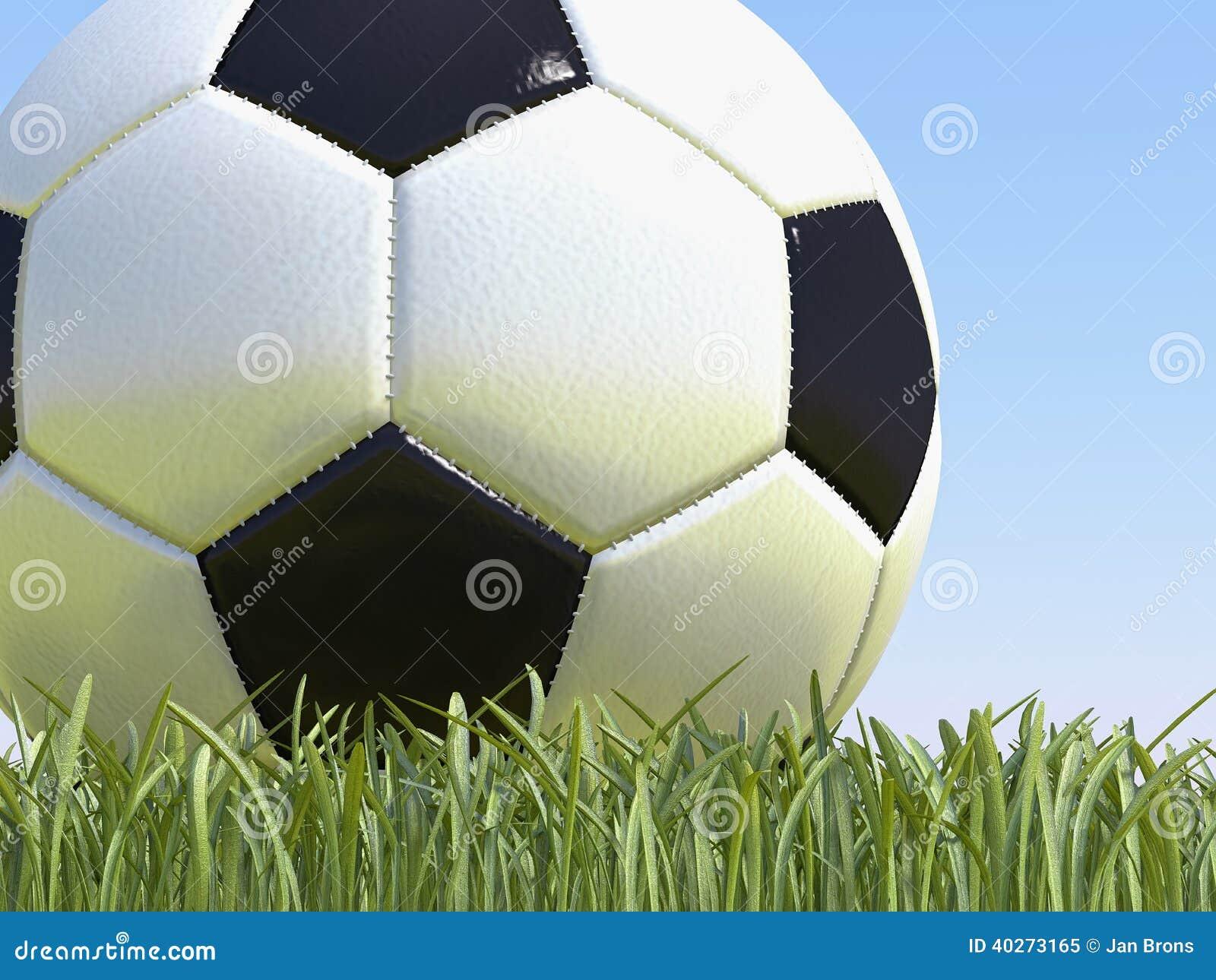 Ballon de football sur l herbe