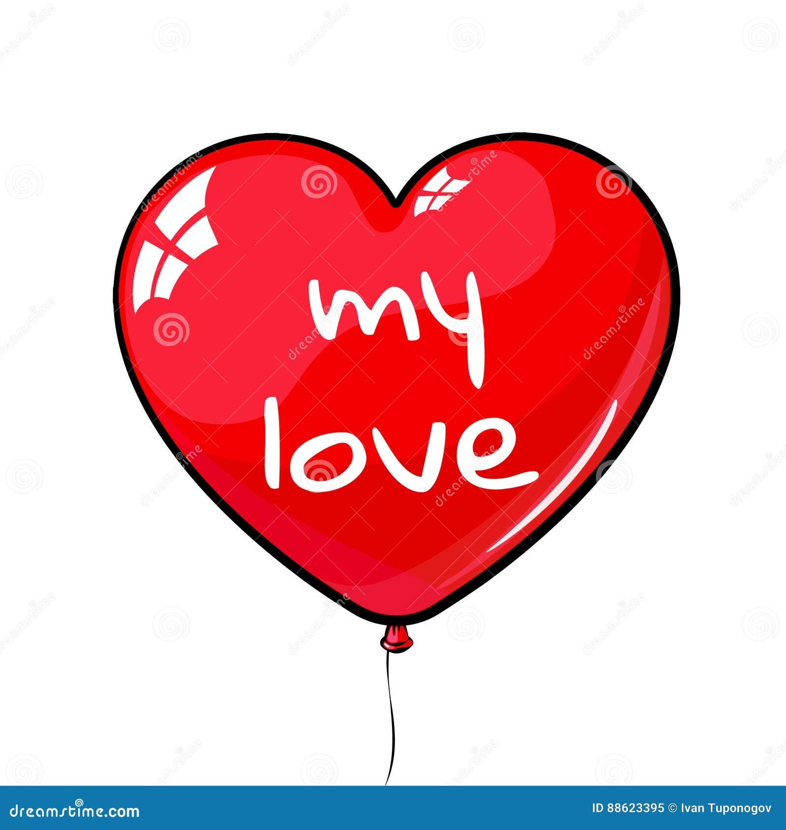 Ballon en forme de coeur rouge a marqué mon amour