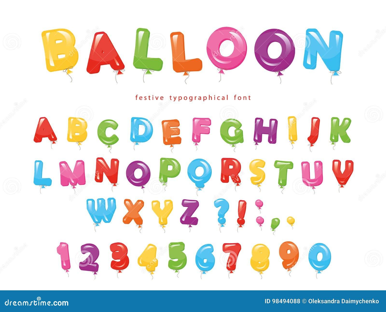 Abc Verjaardag.Ballon Kleurrijke Doopvont De Feestelijke Glanzende Letters