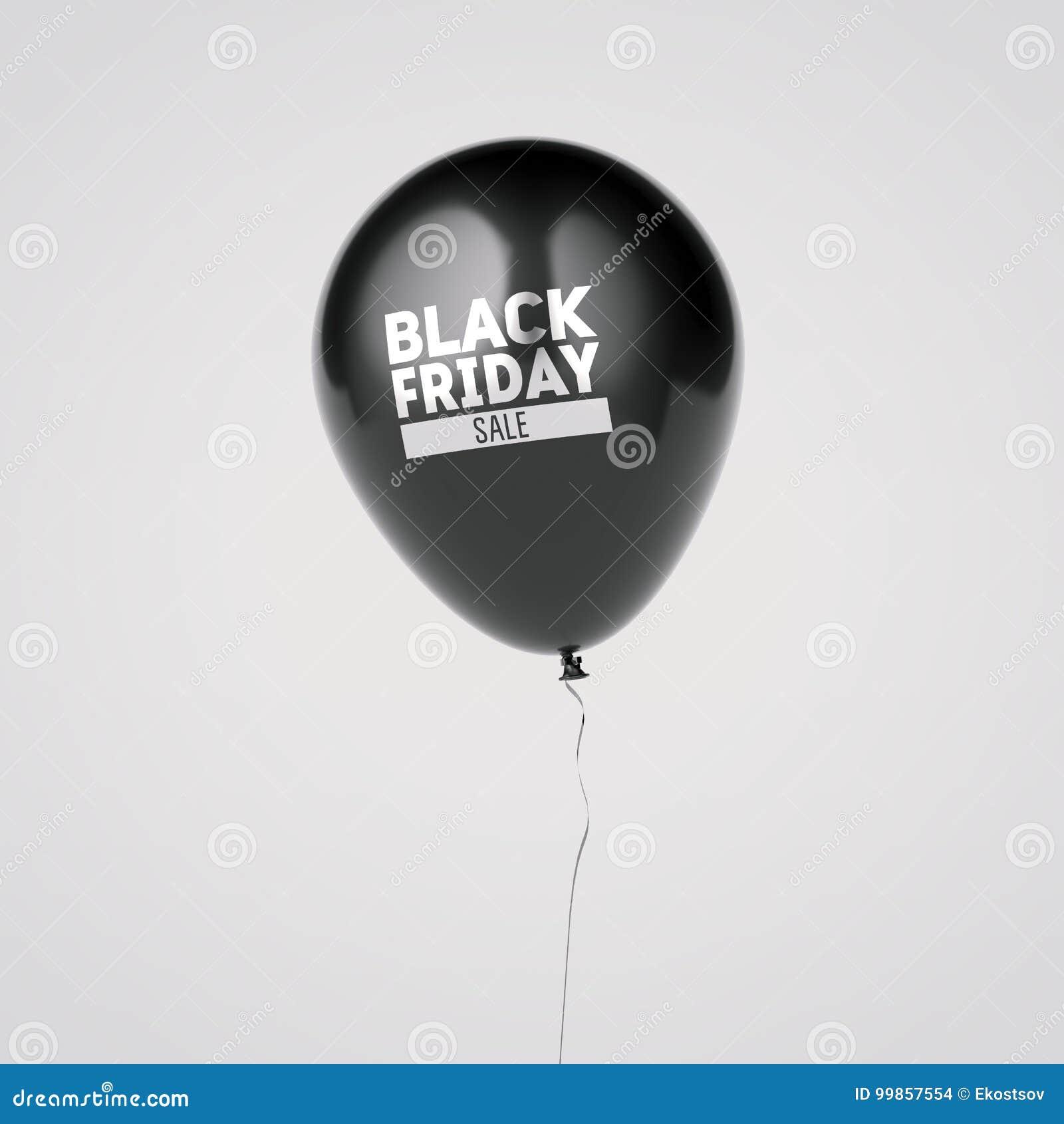 Ballon met het zwarte teken van de vrijdagverkoop het 3d teruggeven