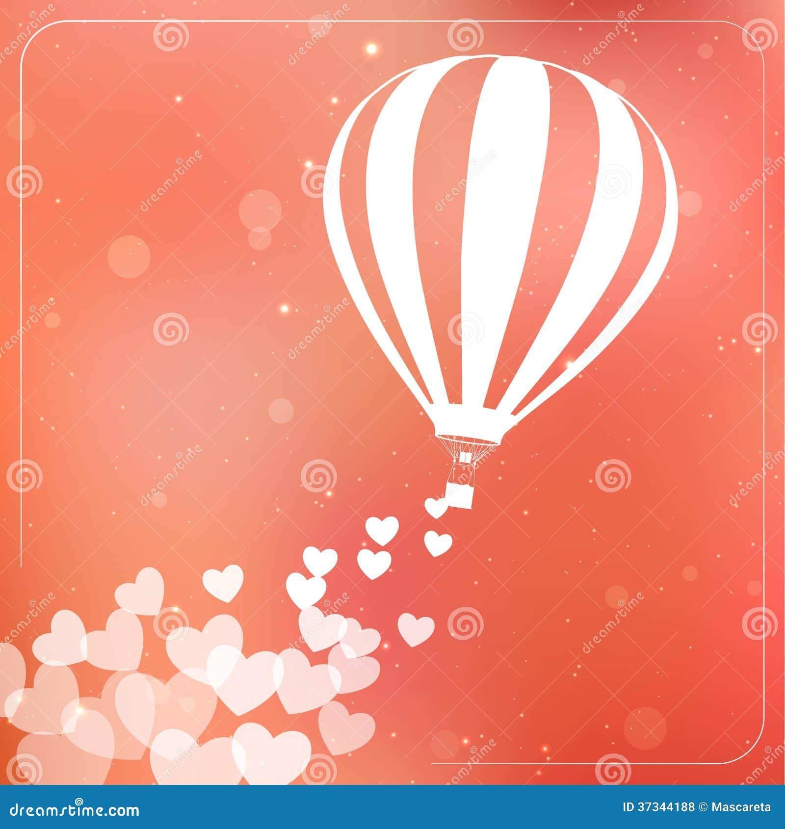 Ballong för varm luft med flyghjärtor. Romantiker
