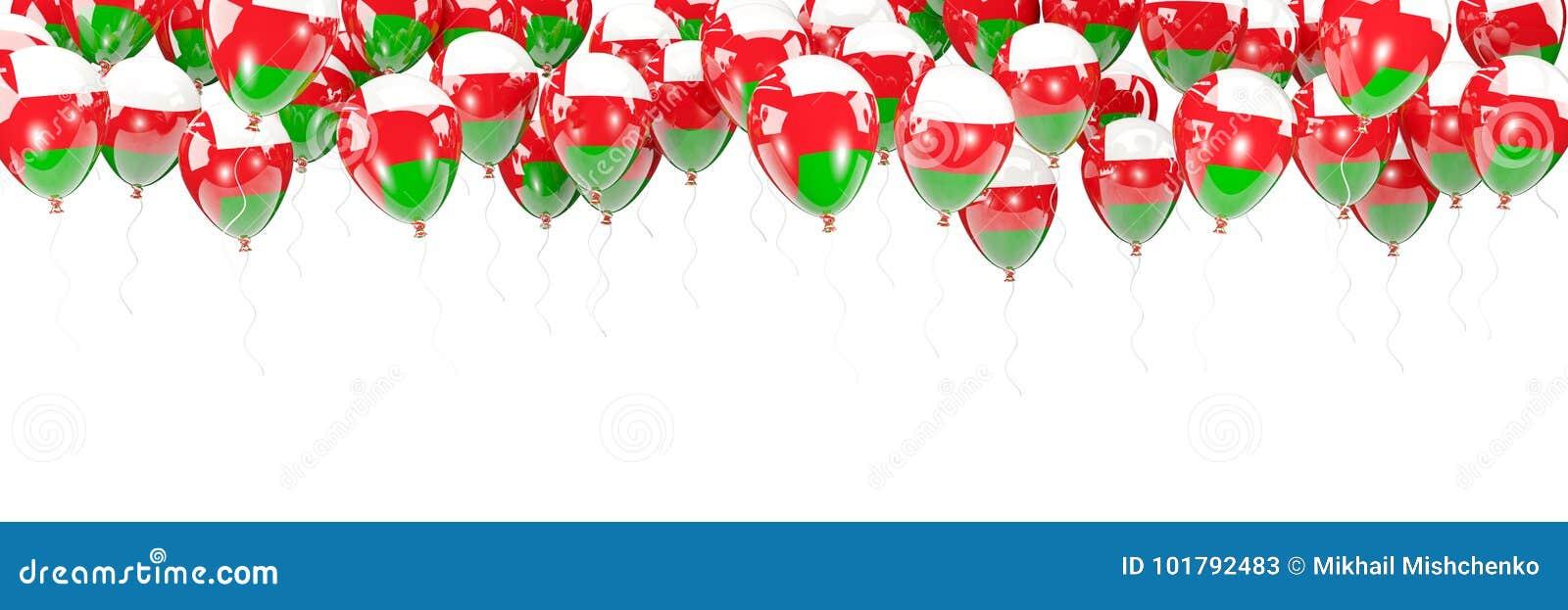Ballonger inramar med flaggan av Oman