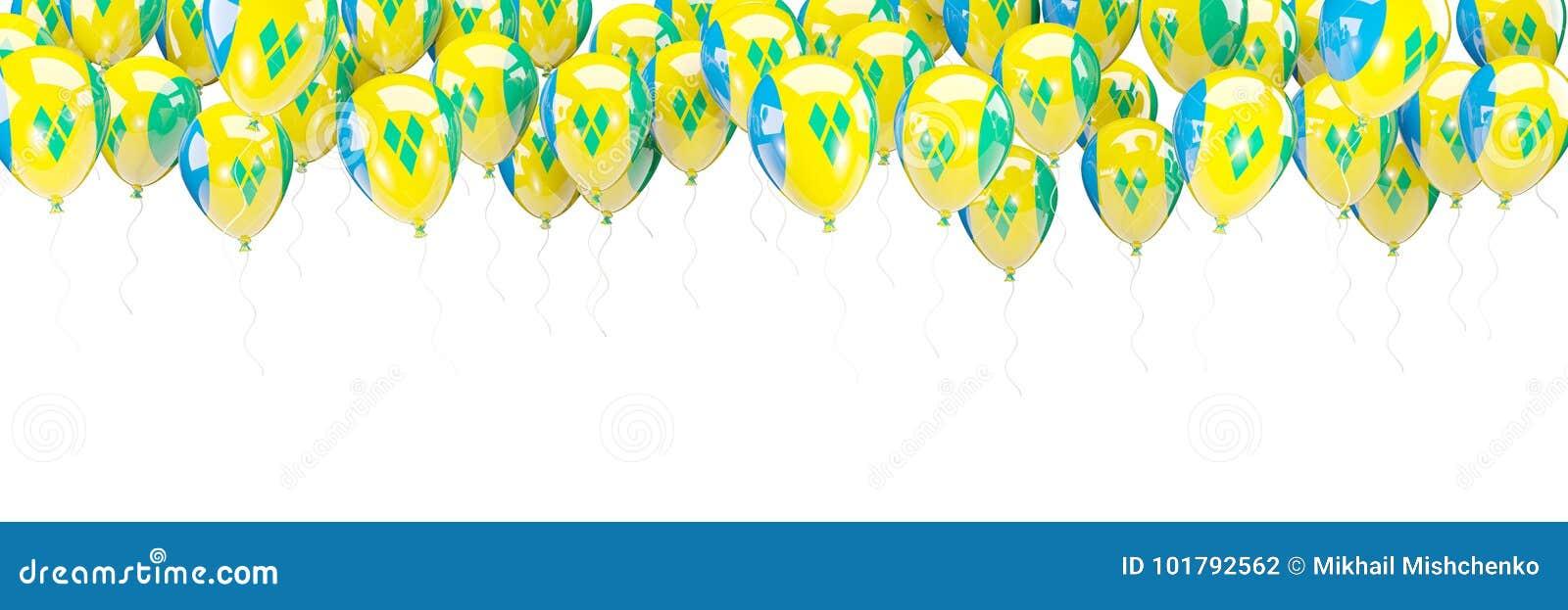 Ballonger inramar med flaggan av Saint Vincent och Grenadinerna