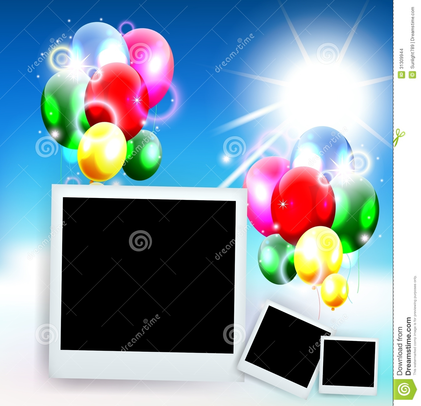 ballons avec la photo de cadre pour le fond d 39 anniversaire images stock image 31309944. Black Bedroom Furniture Sets. Home Design Ideas