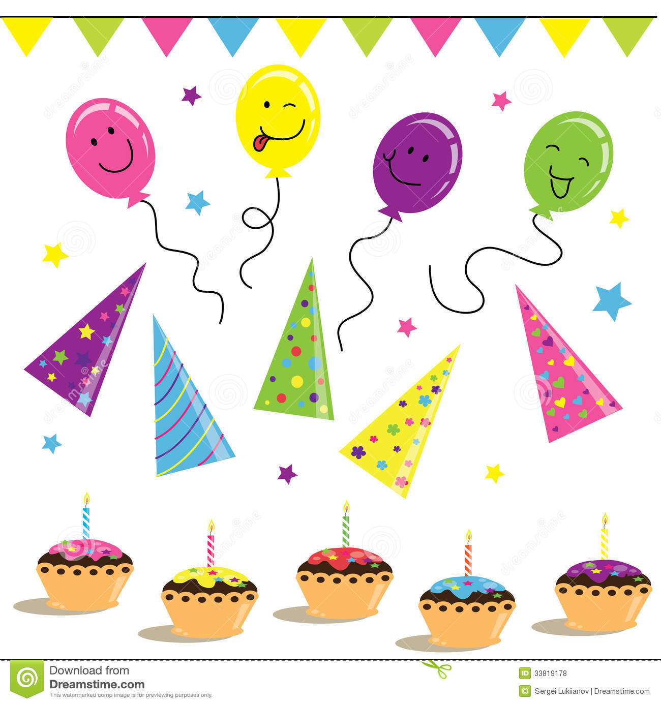 Ballons, Biscuits And Celebration On Birthday Royalty Free