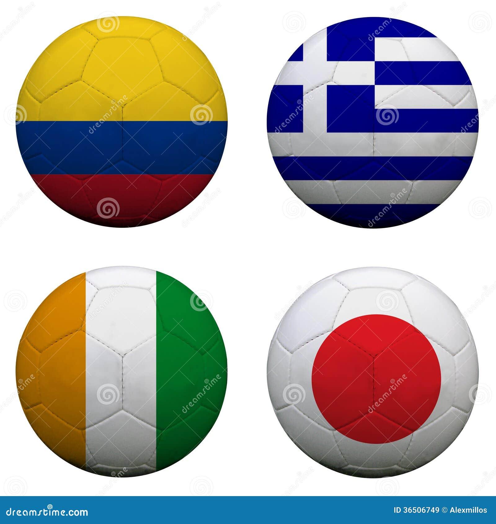 Ballons de football avec des équipes du groupe C