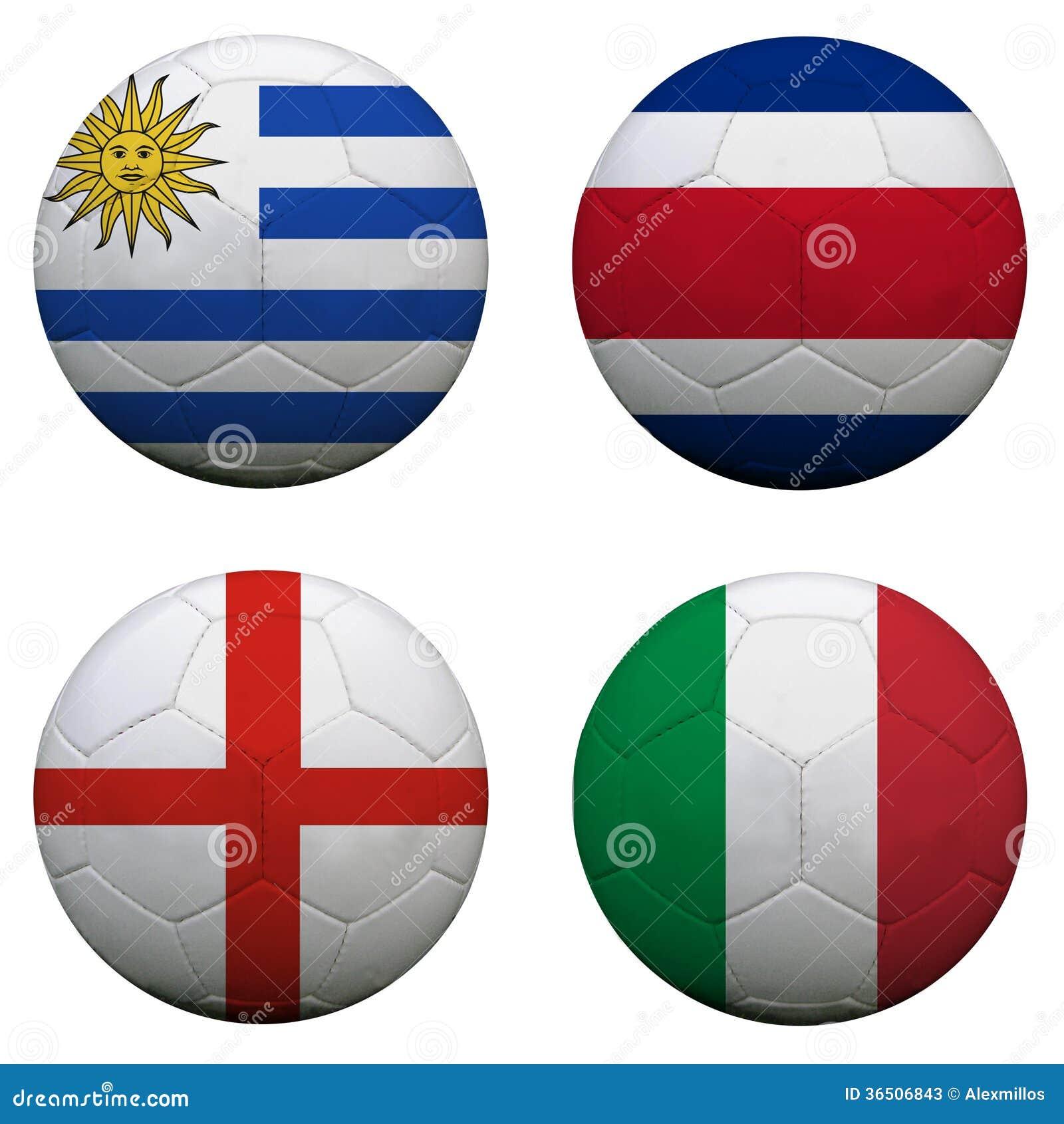 Ballons de football avec des équipes du groupe D