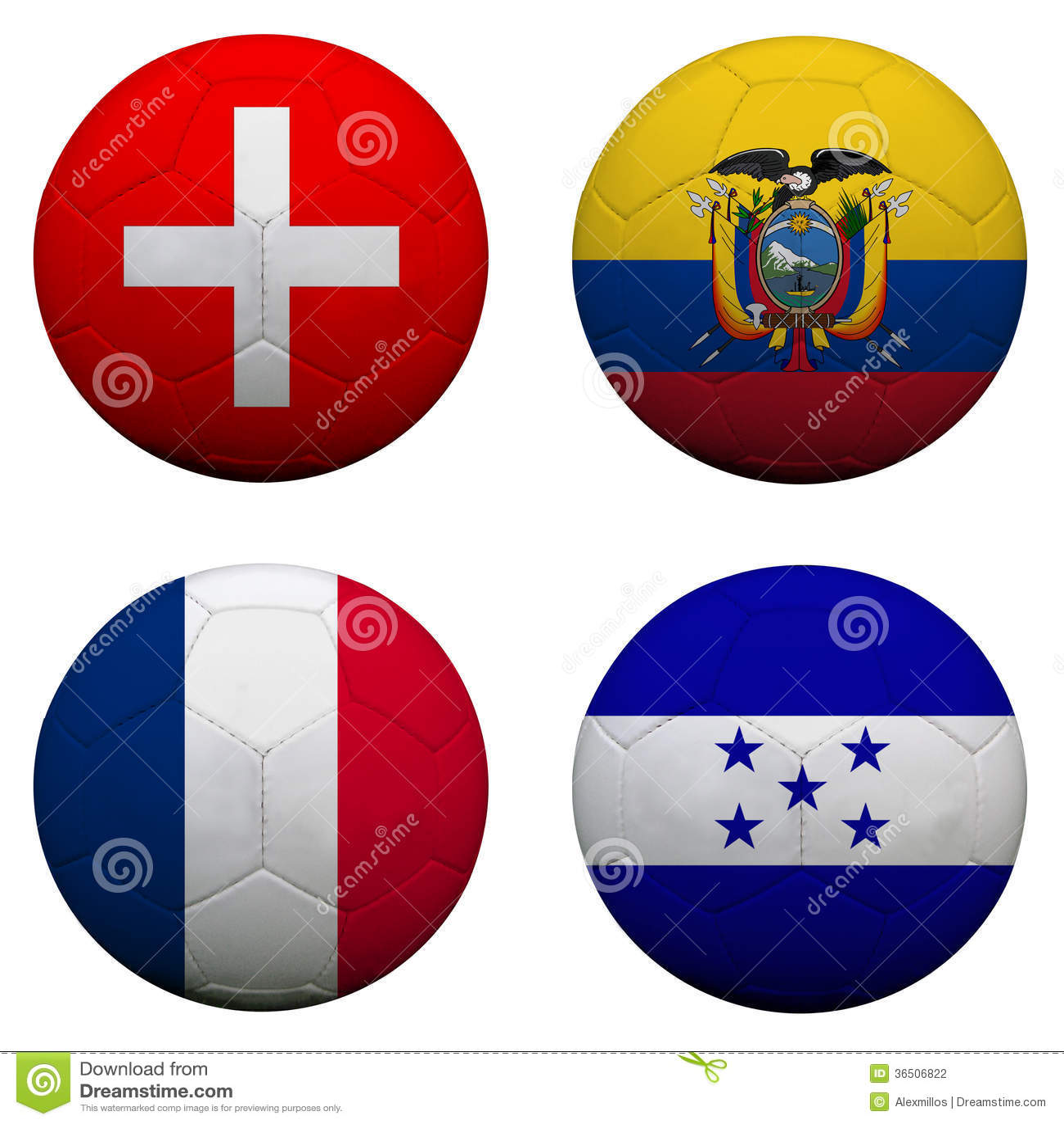Ballons de football avec des équipes du groupe E