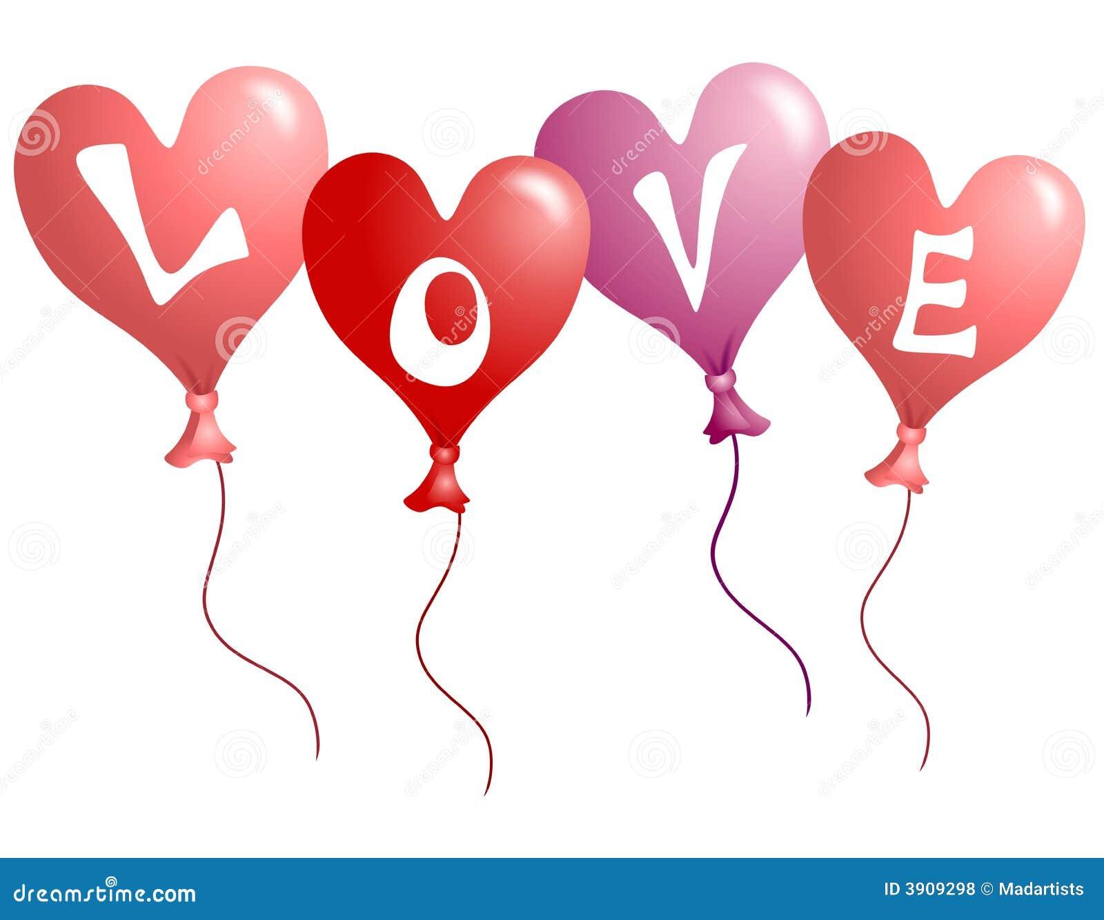 Ballons en forme de coeur d 39 amour du jour de valentine - Clipart amour ...