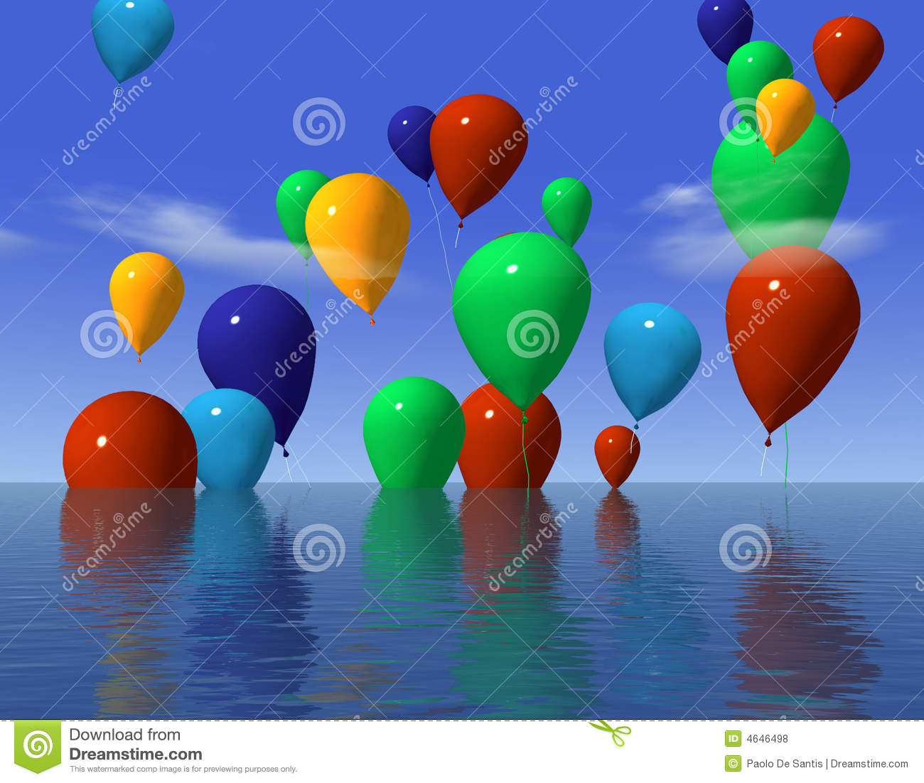 Ballons In Water Royalty Free Stock Photos - Image: 4646498