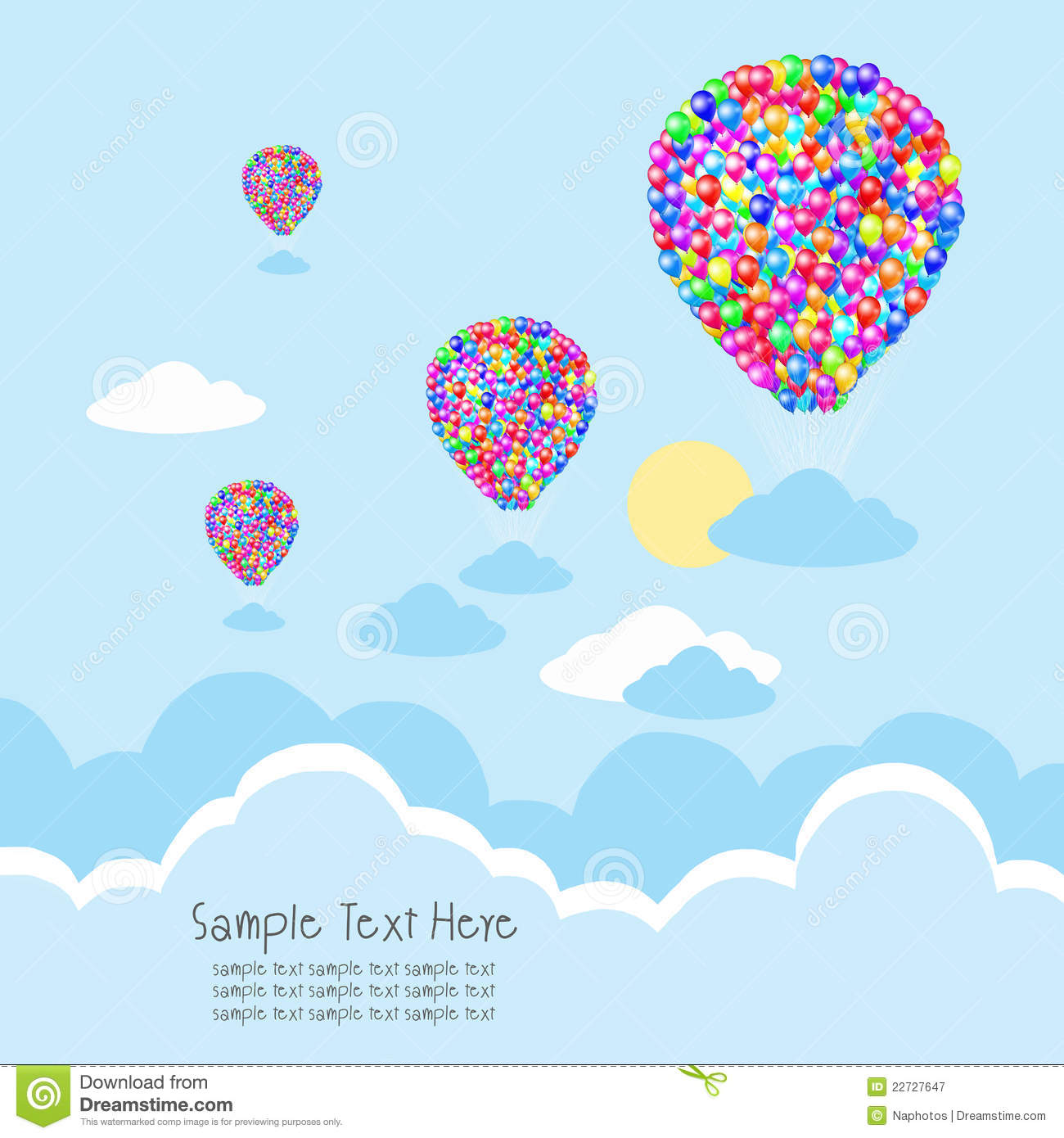 Balloon with cloud and rays