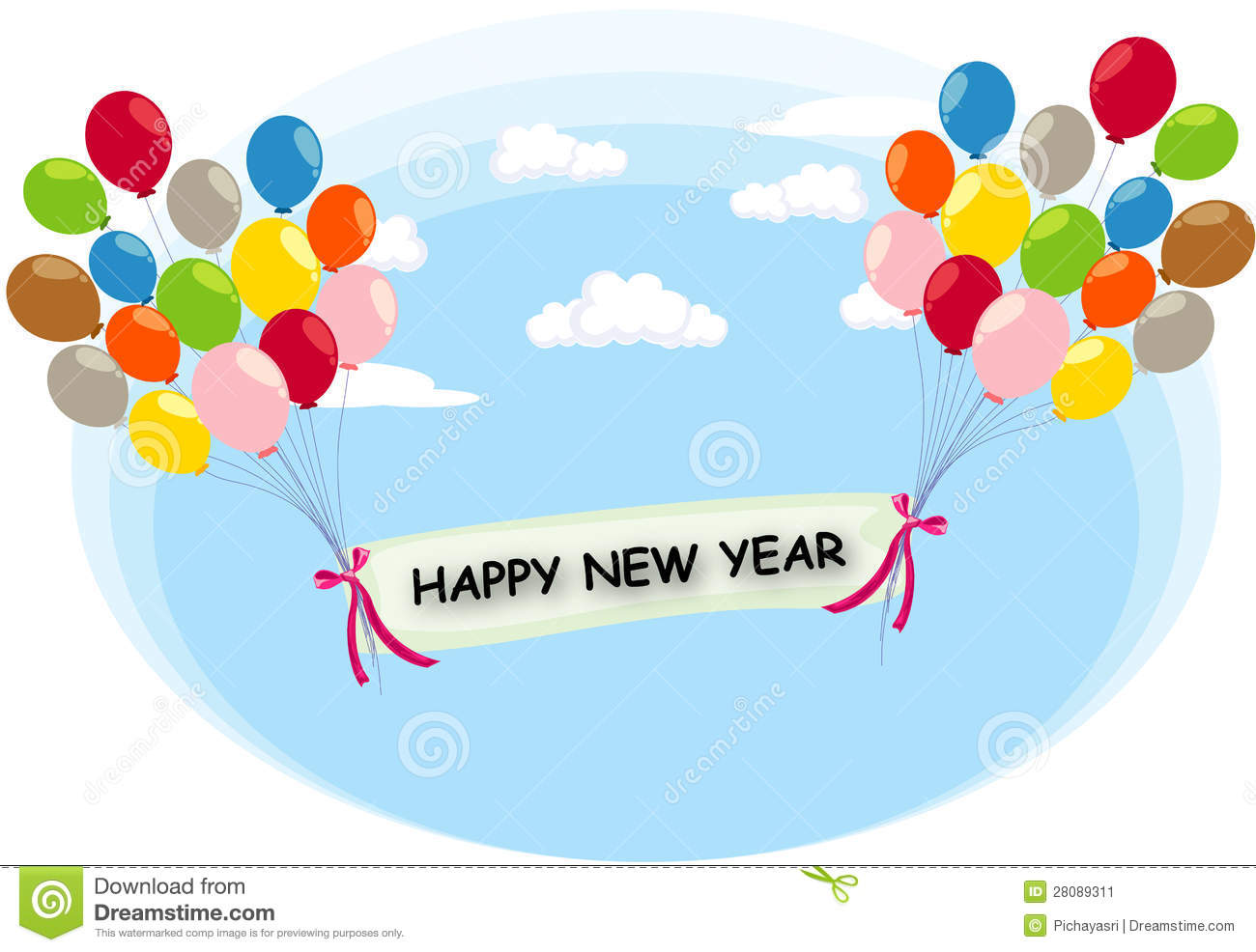 balloon flying with happy new year label