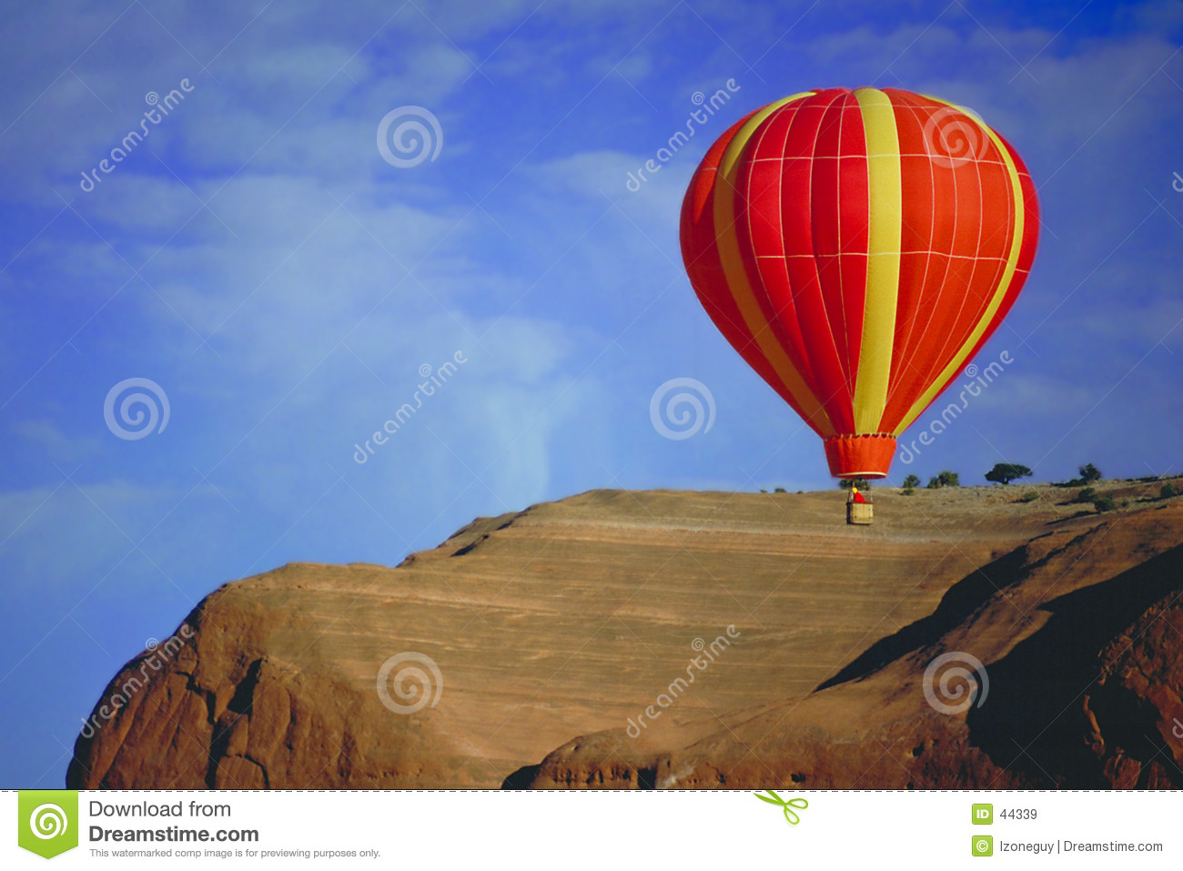 Balloon flying over Red Rock, New Mexico