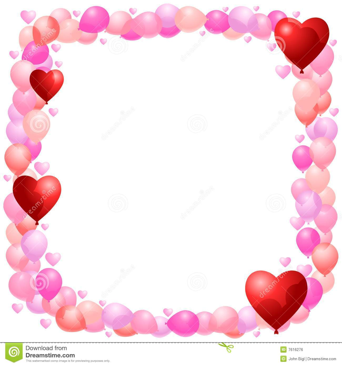 balloon frame with hearts royalty free stock image