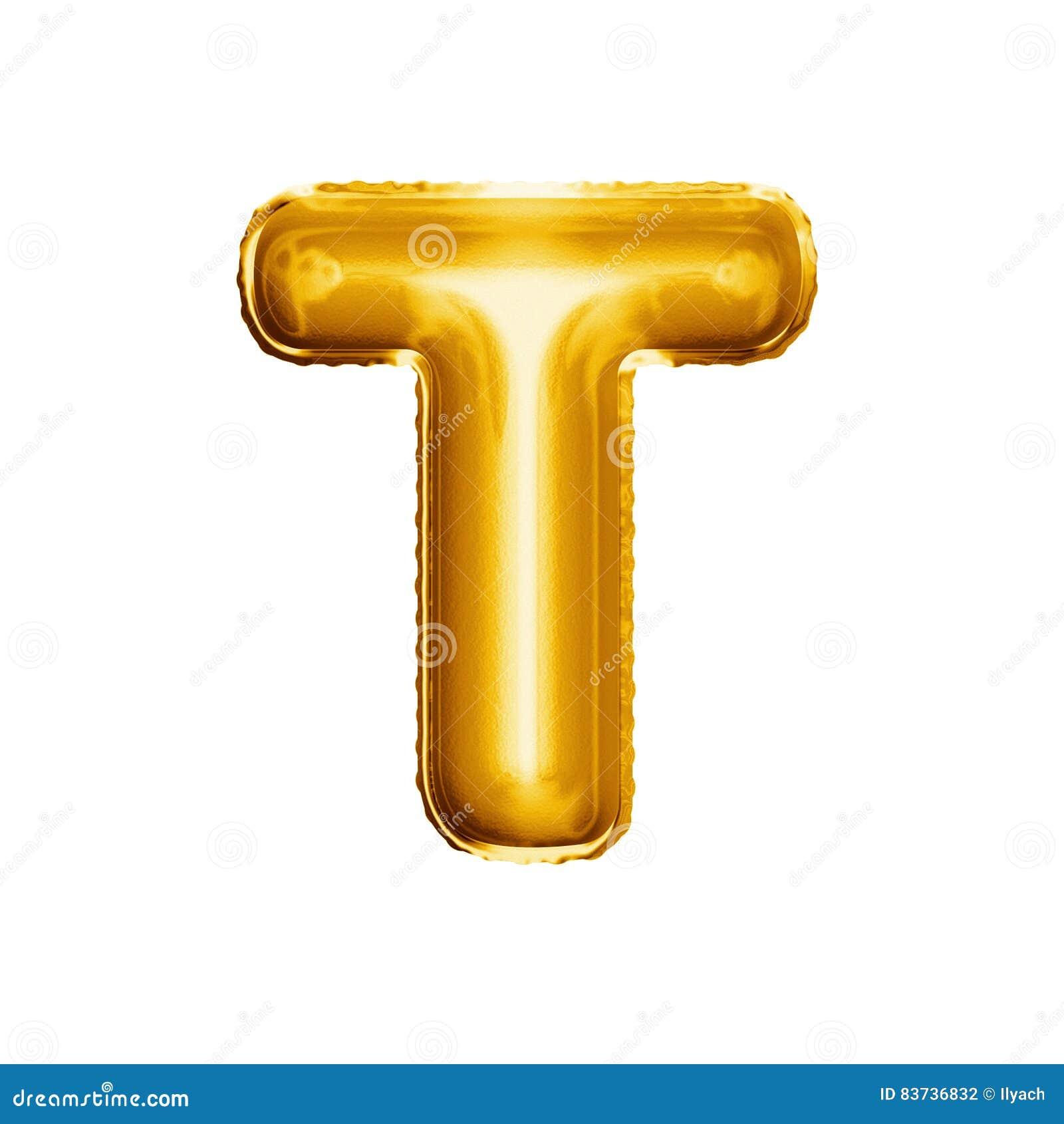 balloon letter t 3d golden foil realistic alphabet