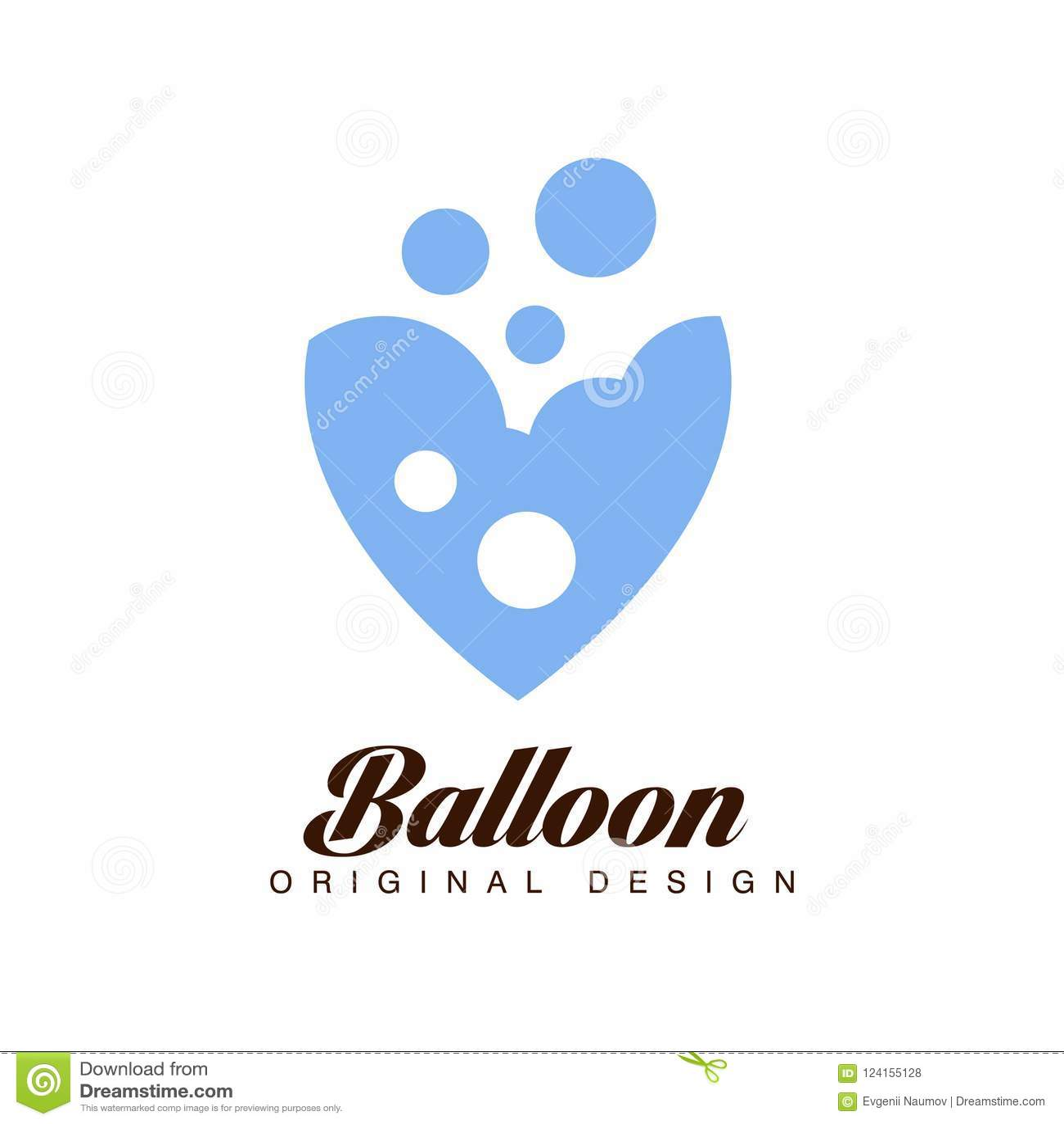 Balloon o projeto original, crachá criativo para a identidade de marca incorporada, férias de verão, festival, curso, vetor do tu