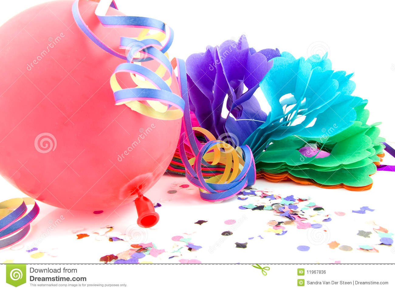 Balloon And Party Streamers For Birthday Royalty Free Stock Image ...