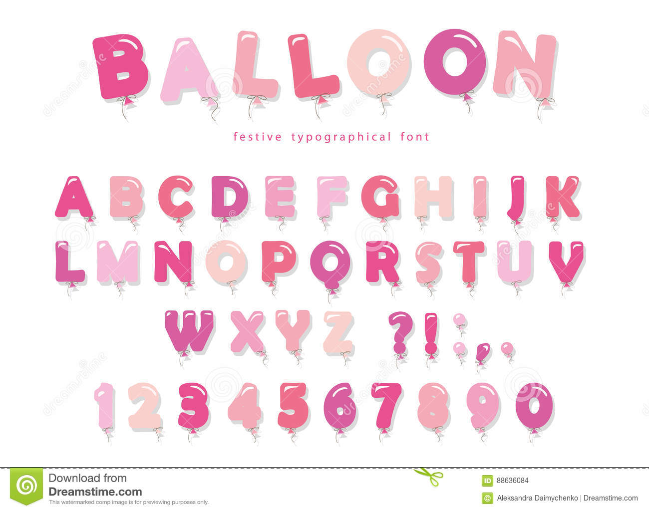 balloon pink font cute abc letters and numbers for birthday baby shower girly