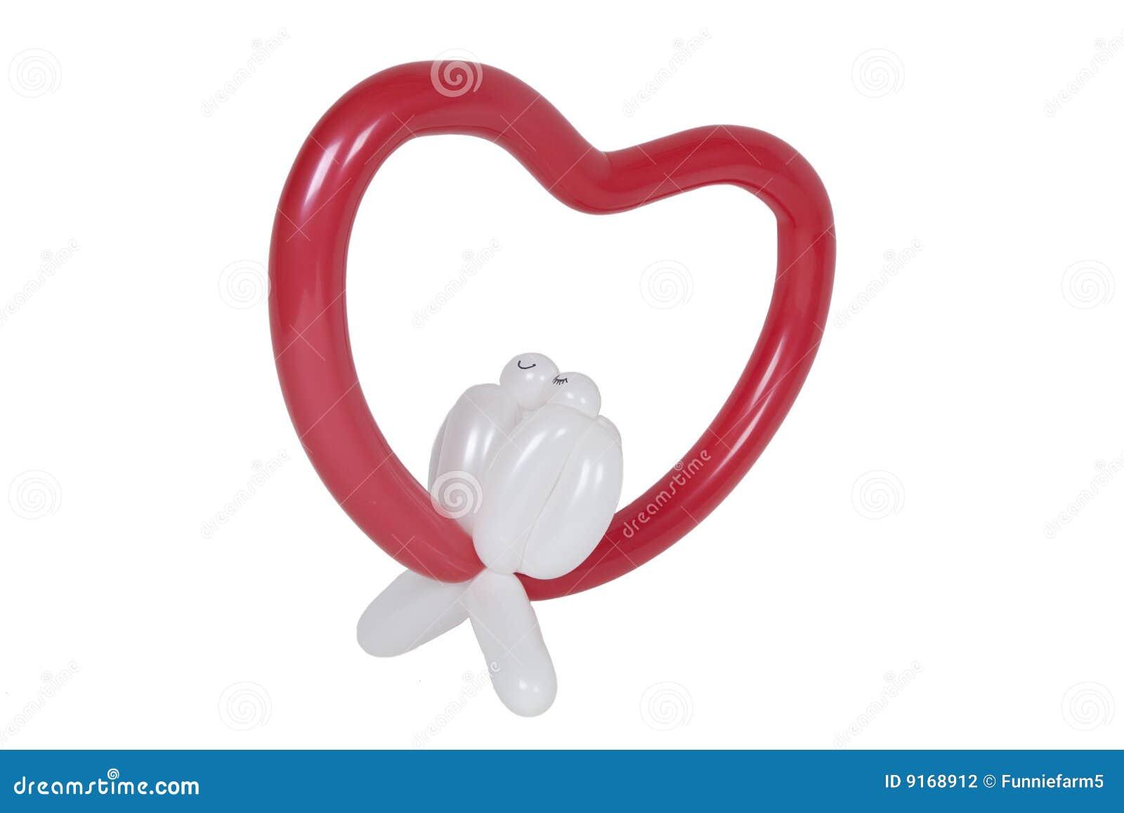 Balloon Shaped Like Heart With Love Birds Stock Photo