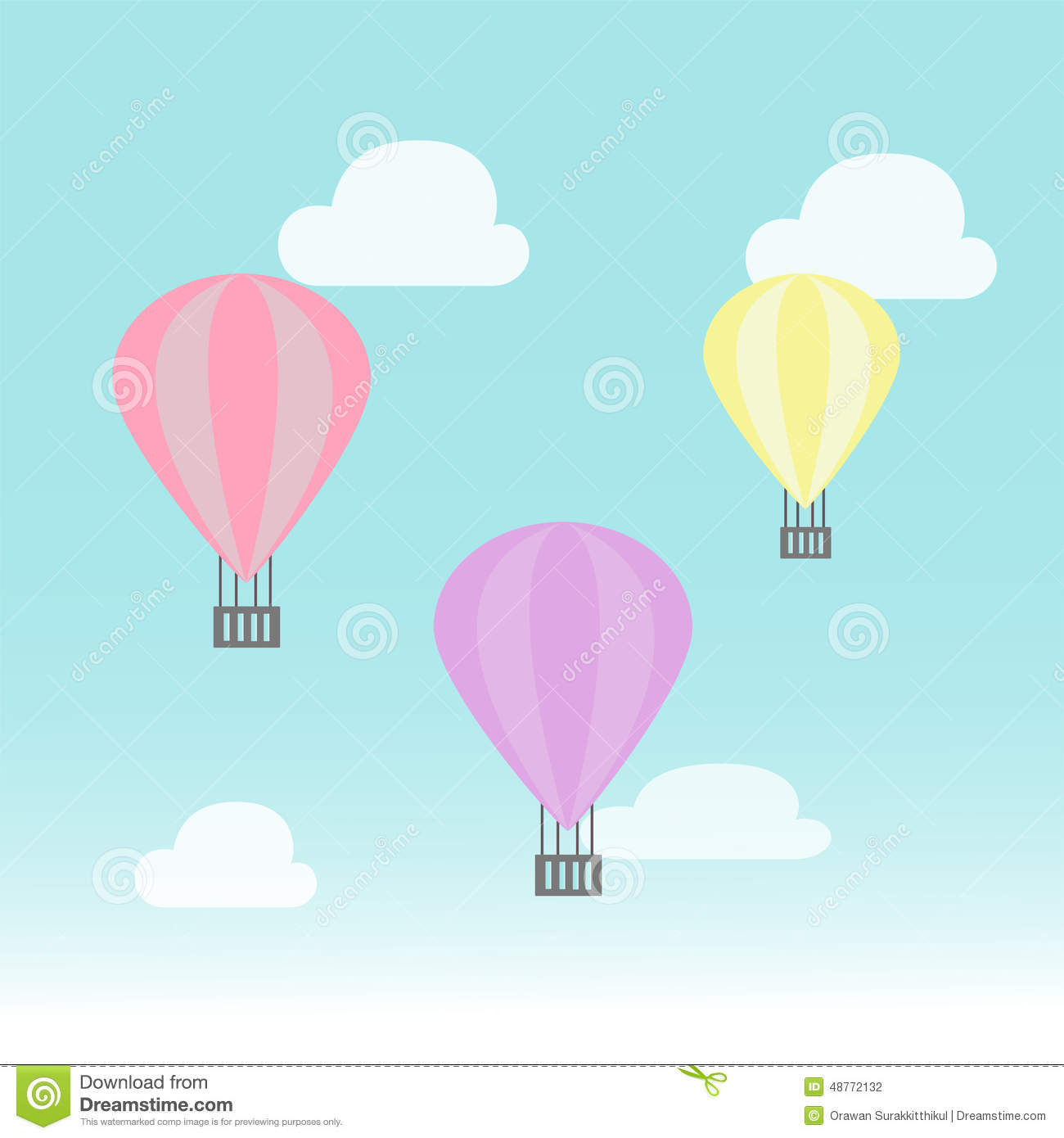 Balloon In The Sky Stock Vector Illustration Of Blue 48772132