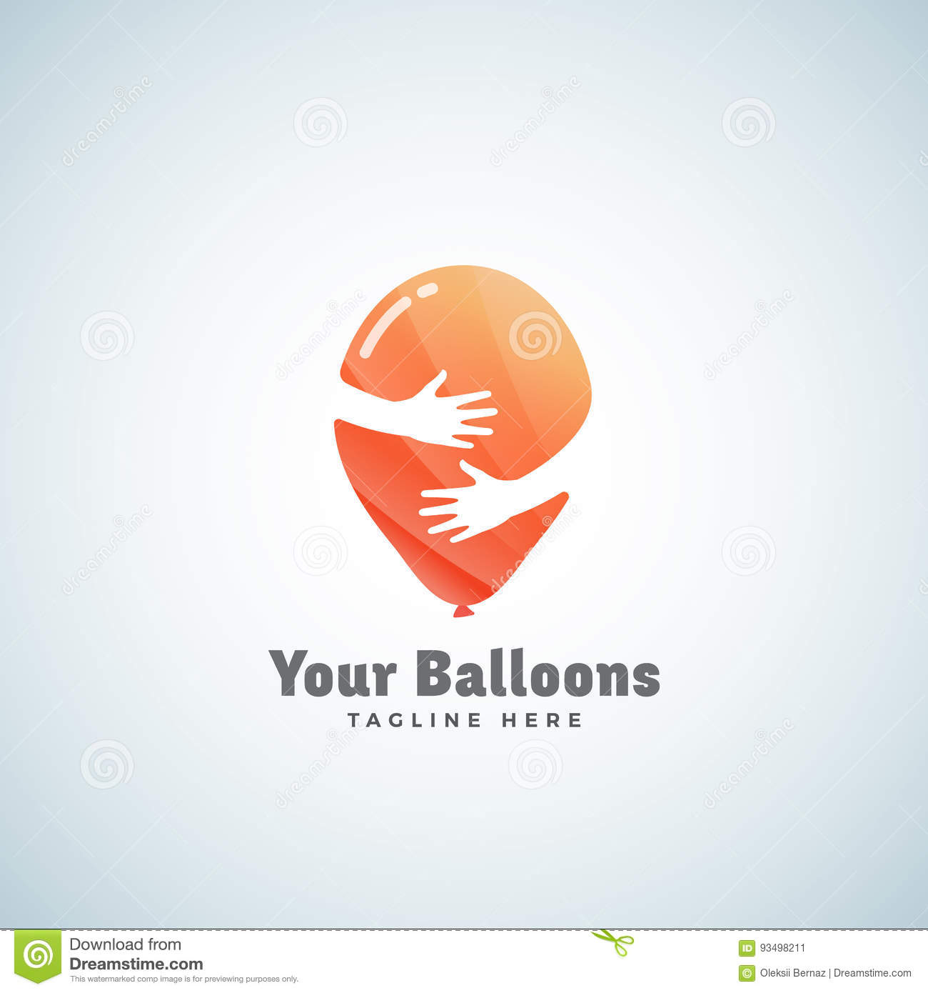 Balloons Abstract Vector Sign, Emblem or Logo Template. Balloon in Hands Negative Space Concept.