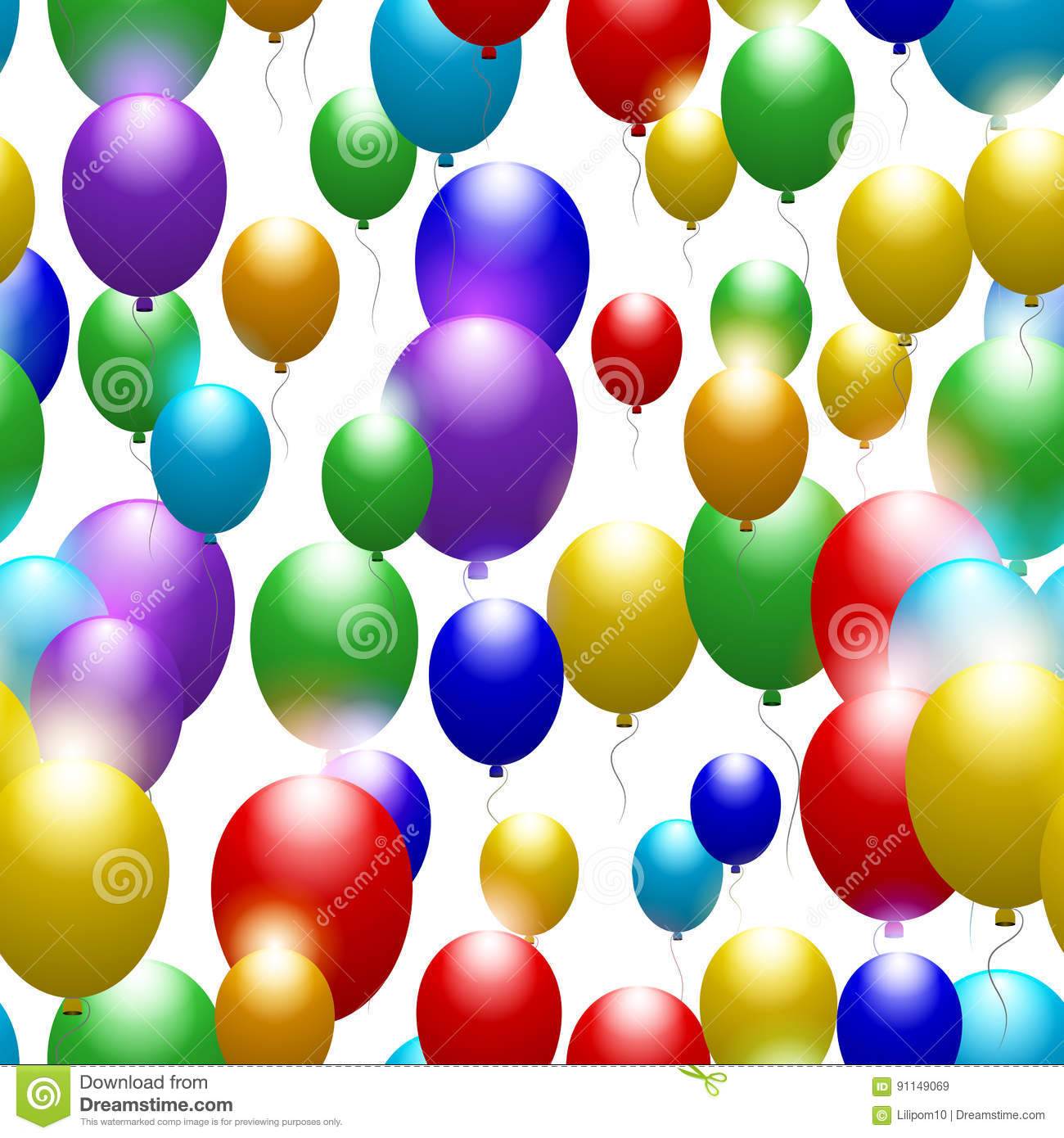 balloons of all colors of the rainbow seamless festive pattern