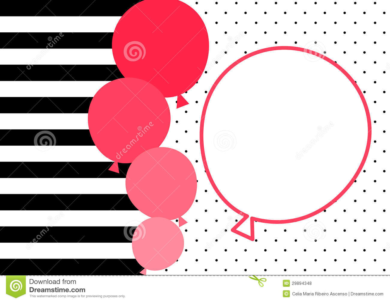 Stripes and pink balloons invitation card stock for Striped and polka dot pumpkins