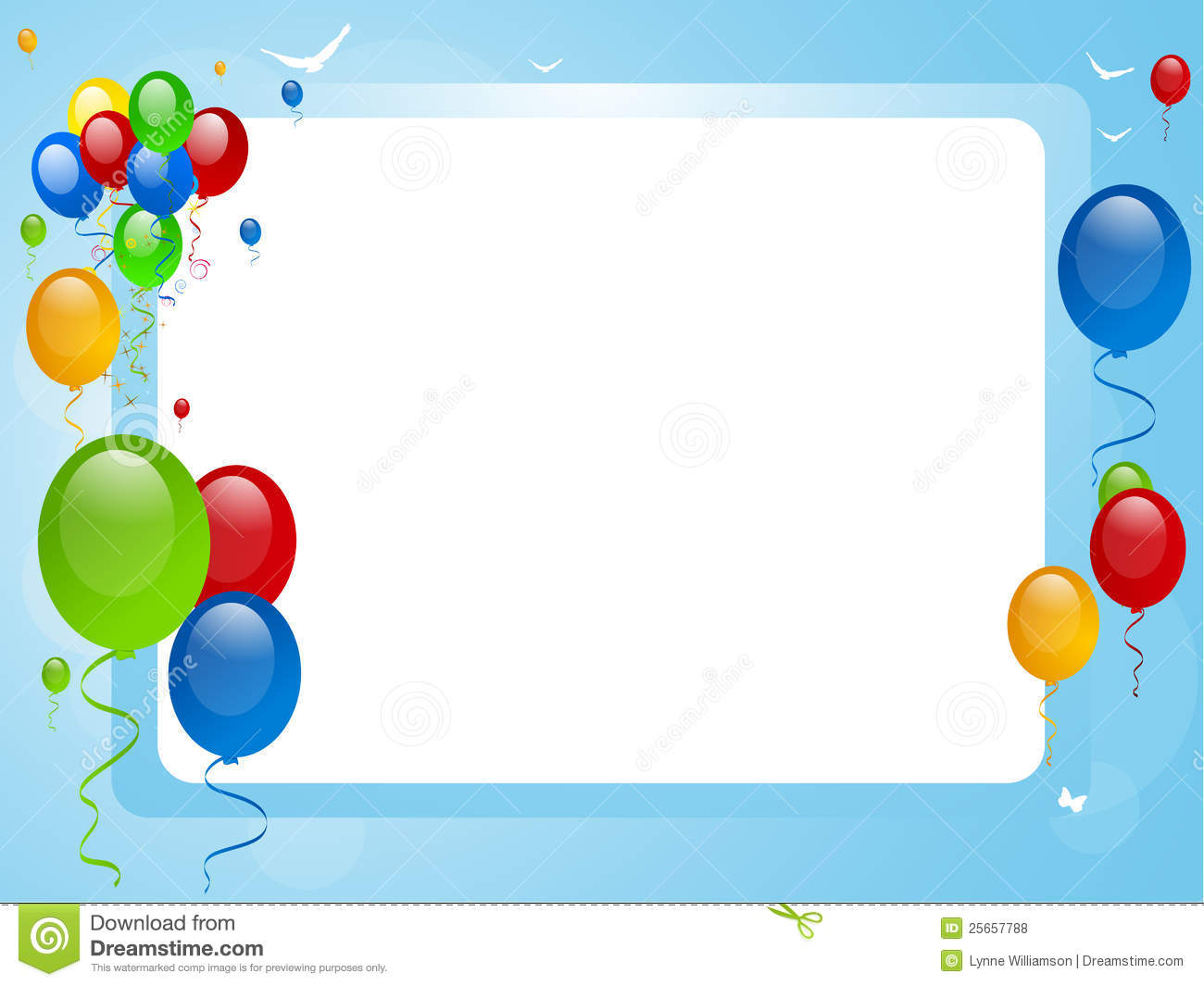 Balloons On A Blue Border Stock Vector Image Of Ribbons