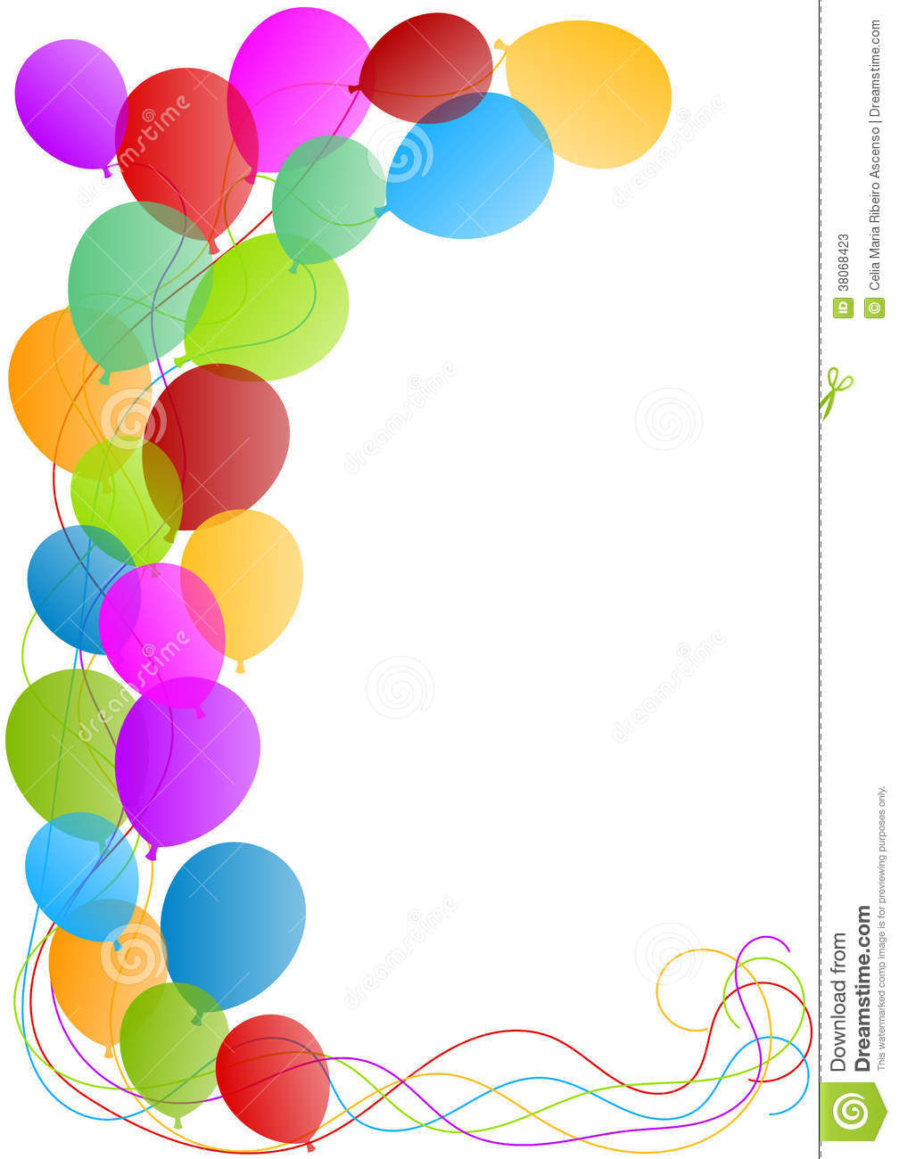 Balloons border card stock illustration. Illustration of coloured ...
