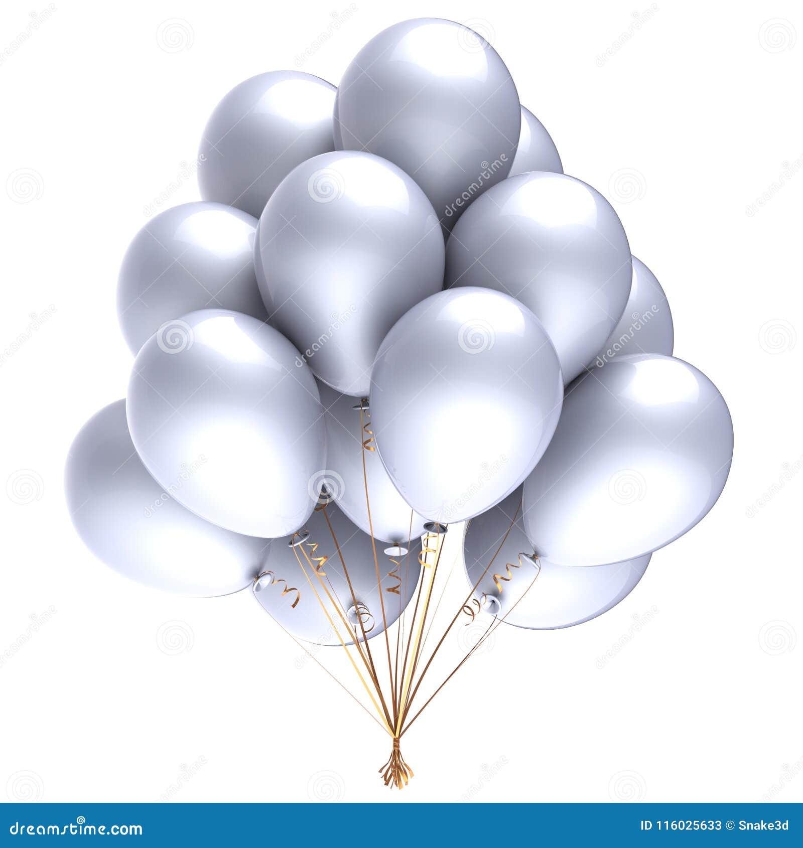 Balloons bunch white glossy