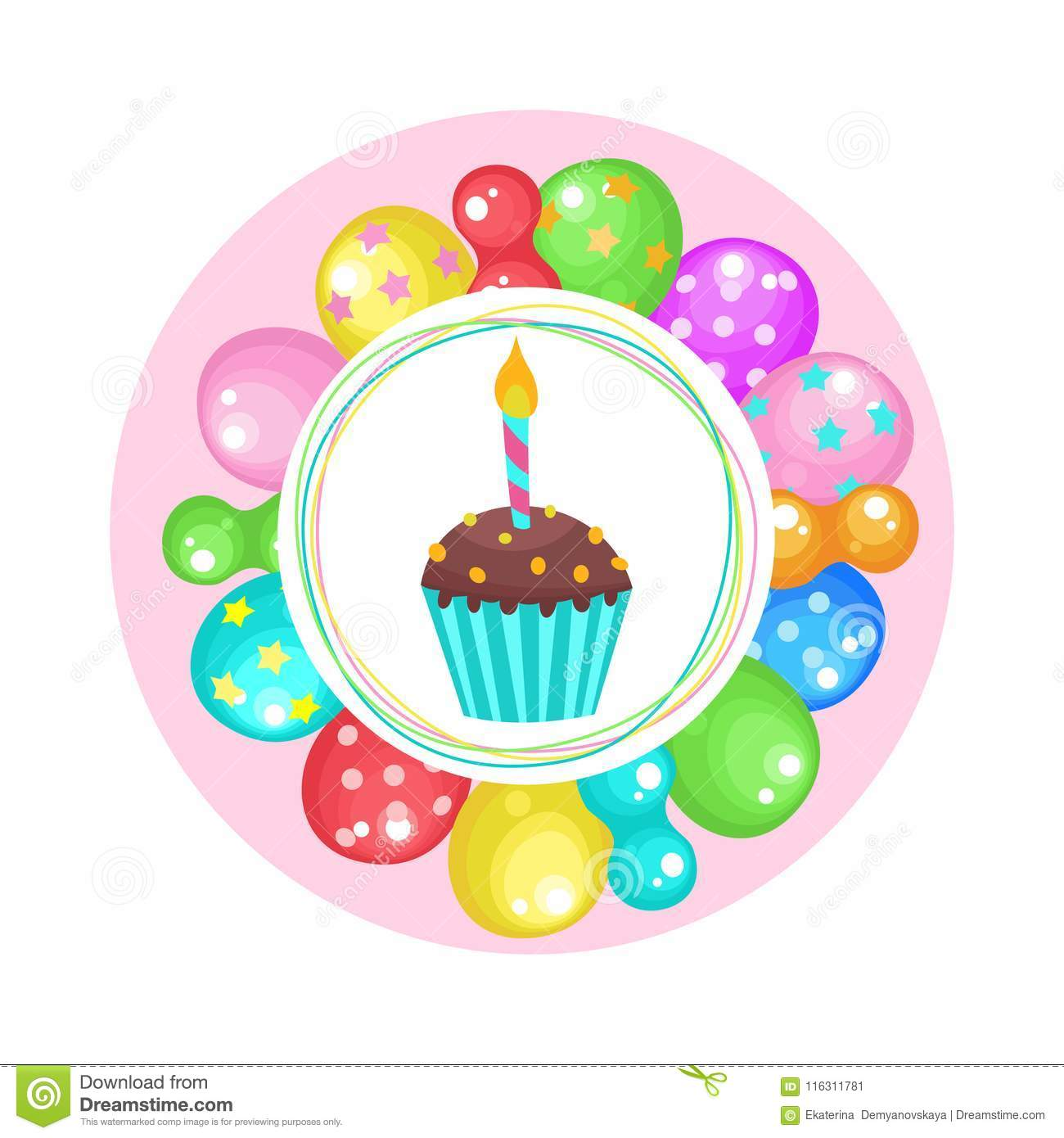 Amazing Balloons And Cakes Happy Birthday Vector Clipart Stock Vector Funny Birthday Cards Online Bapapcheapnameinfo