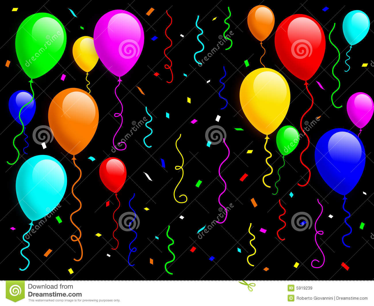 Colorful balloons with confetti and ribbons on black background for a ...
