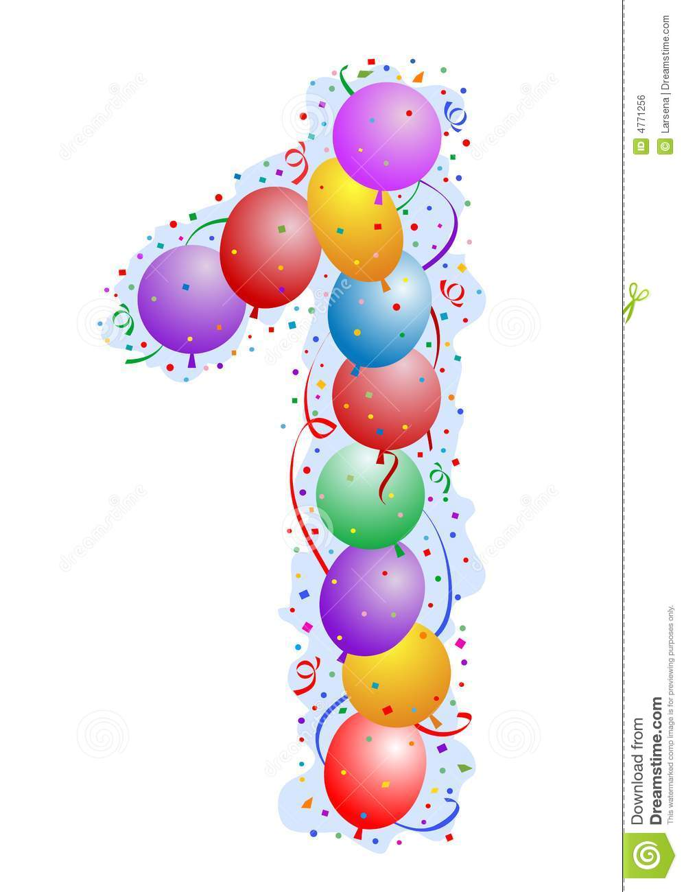 Balloons and confetti number 1 royalty free stock image image 4771256