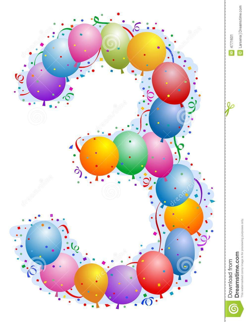 balloons and confetti number 3 stock vector
