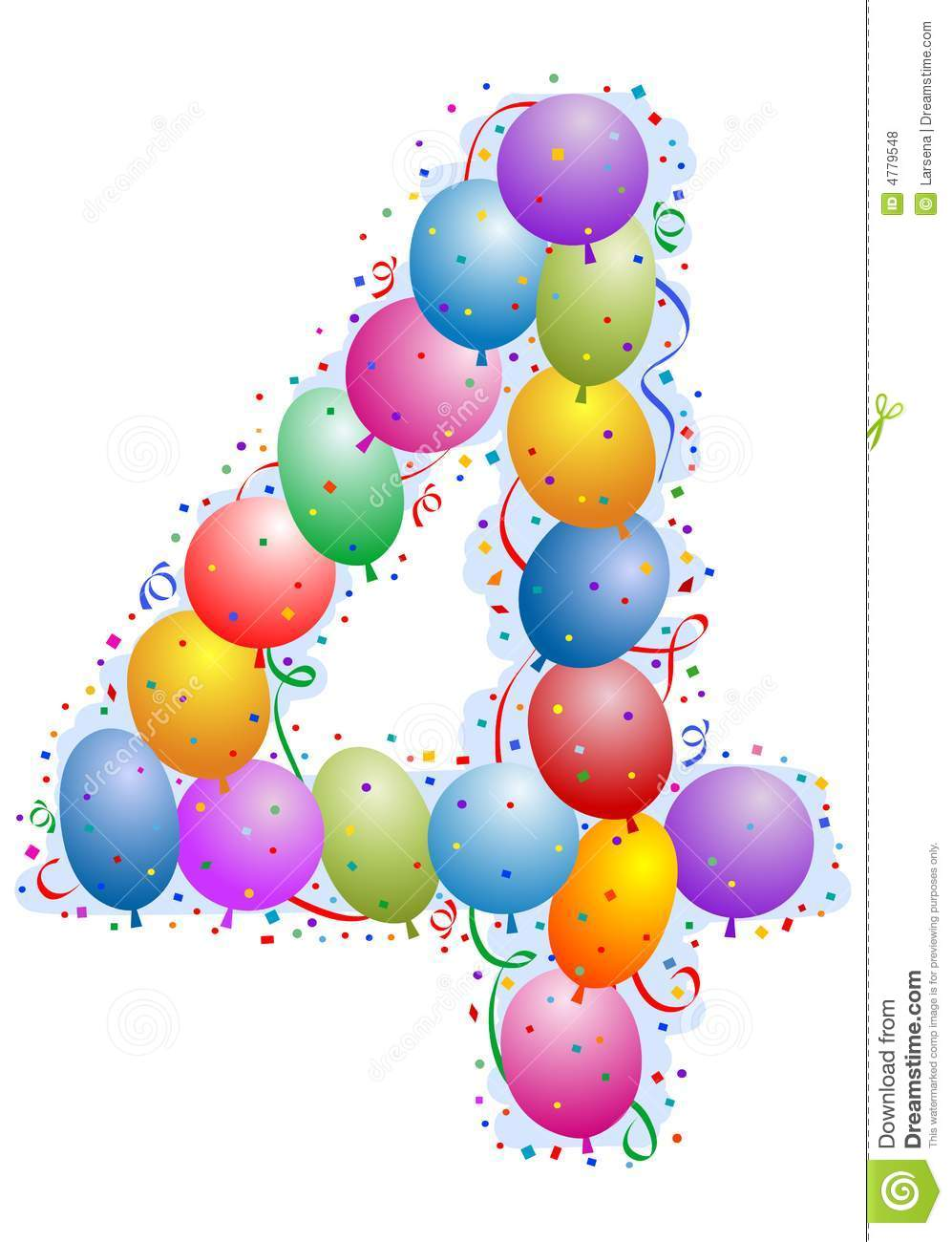 Balloons And Confetti Number 4 Royalty Free Stock Photos - Image ...